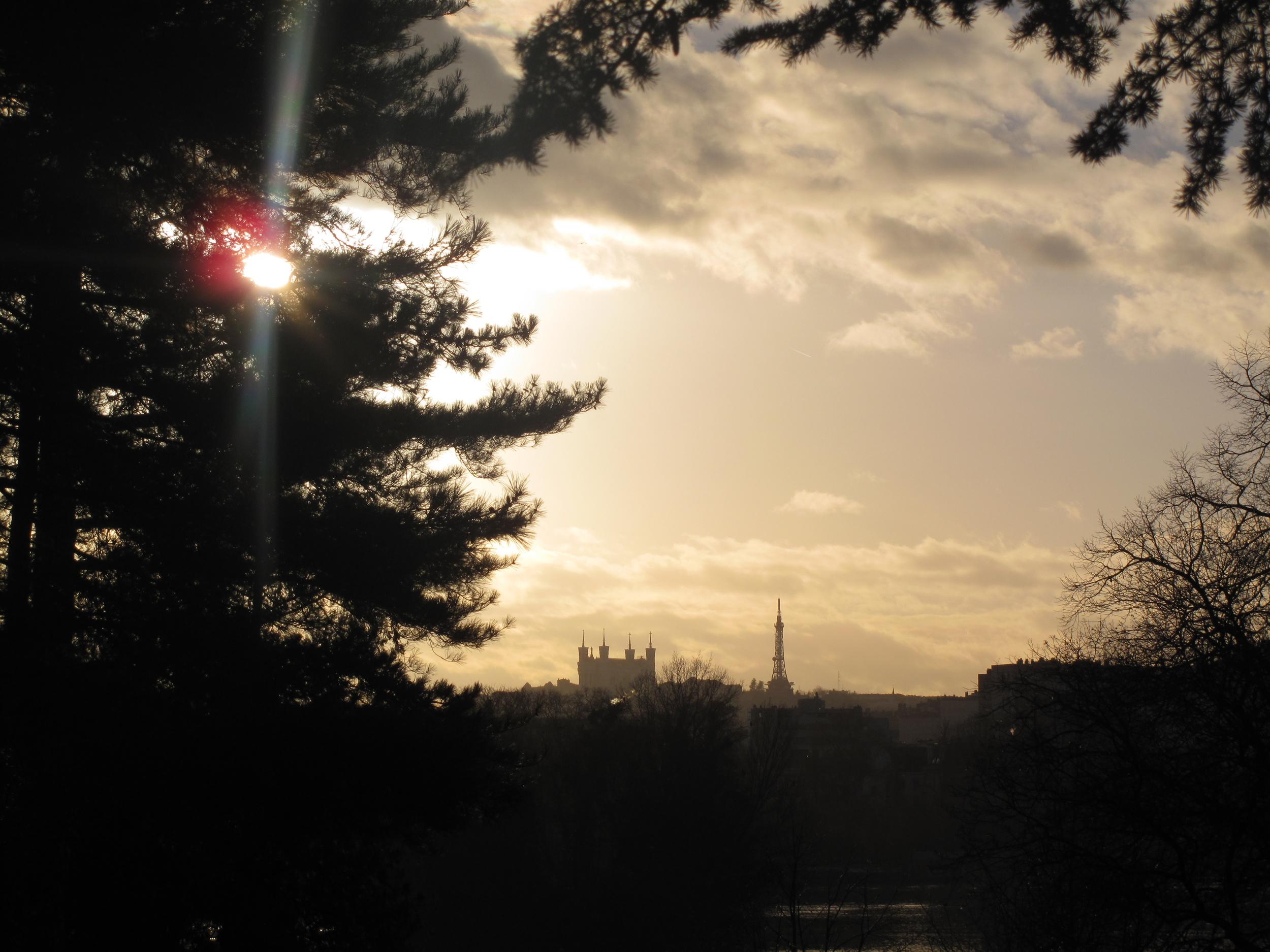 Fourvière seen from Parc de la Tête d'Or