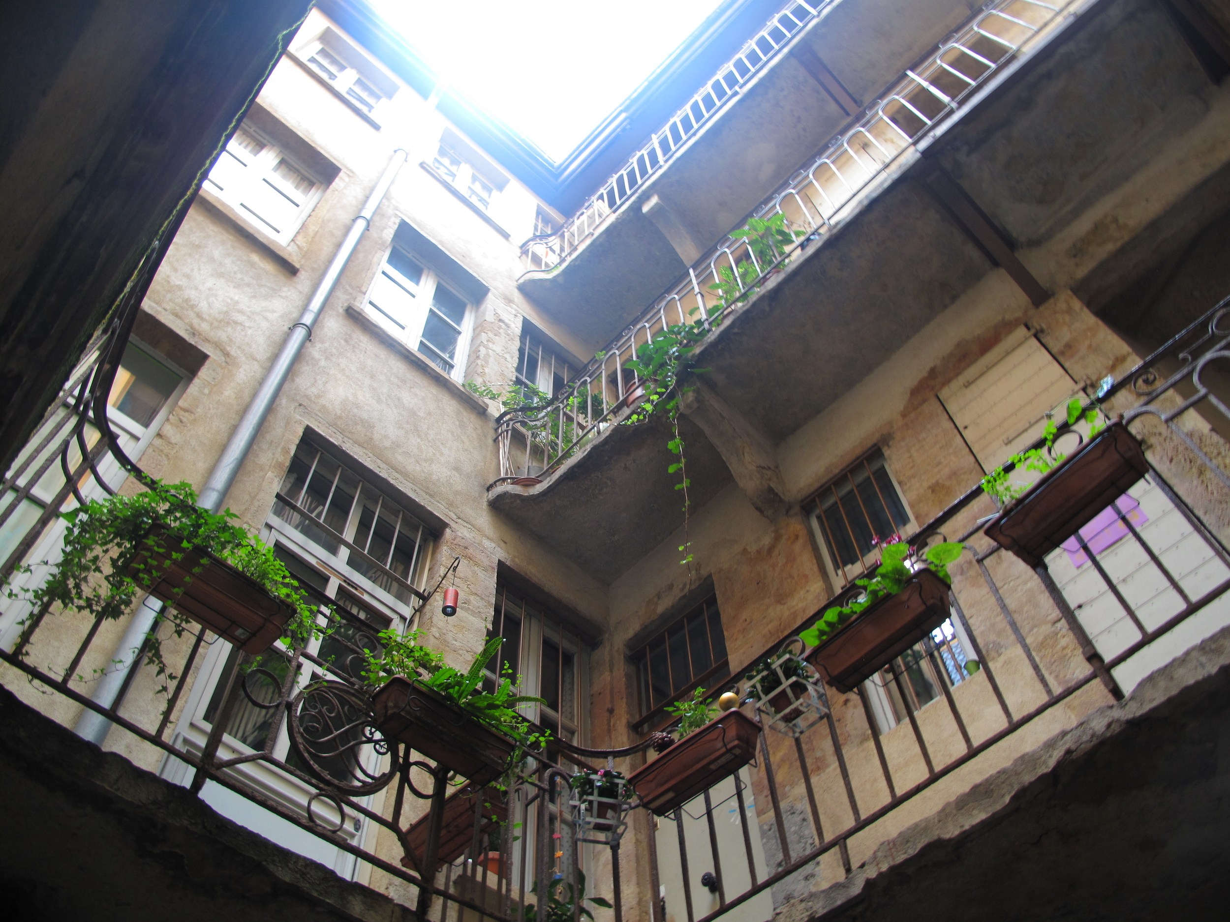 A courtyard in the Traboules of Lyon, with small potted plants and ivy
