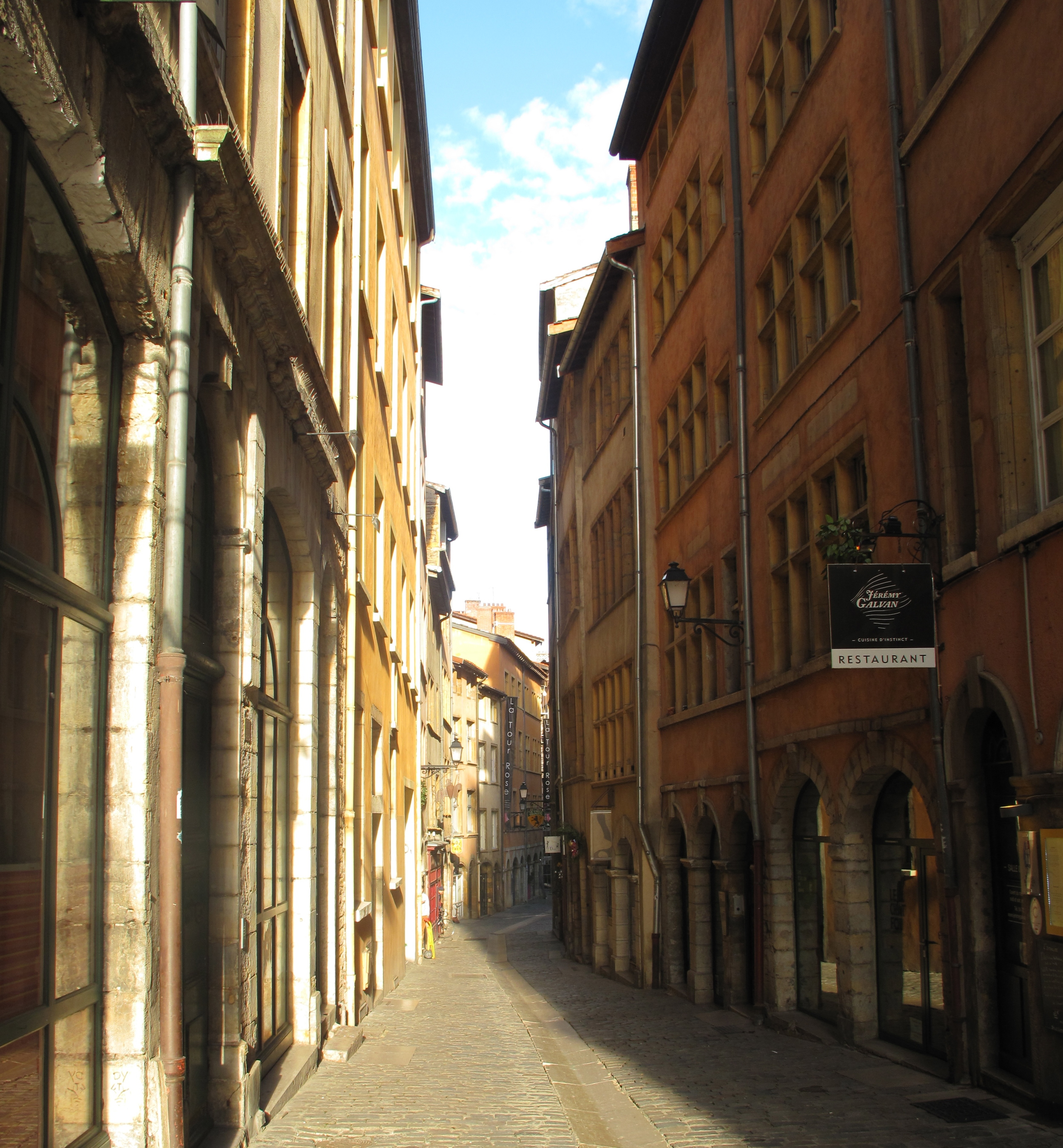 The streets of Vieux Lyon, with narrow lanes and colourful houses