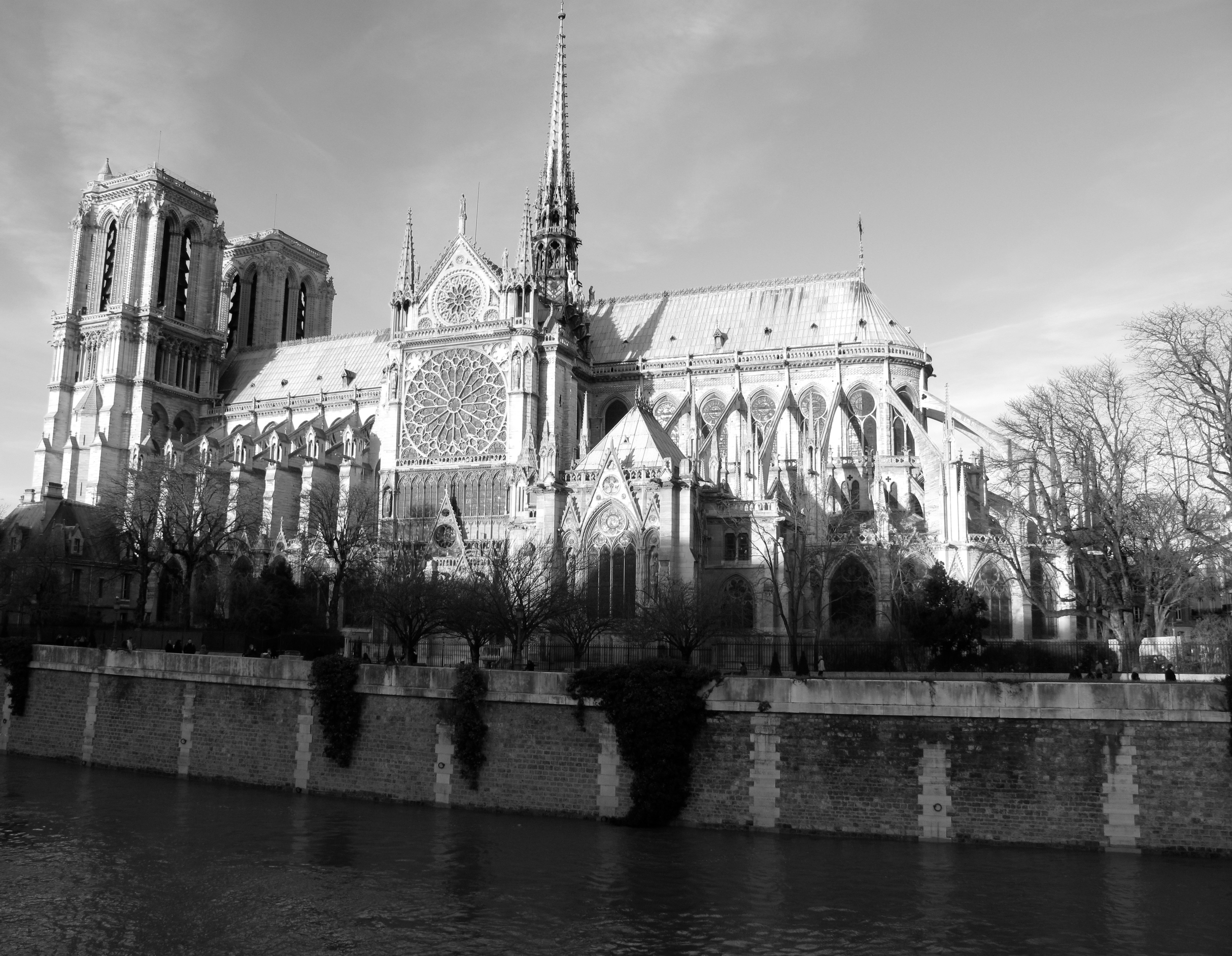 Notre Dame Cathedral in black and white photography, seen from the side of the Seine in Paris
