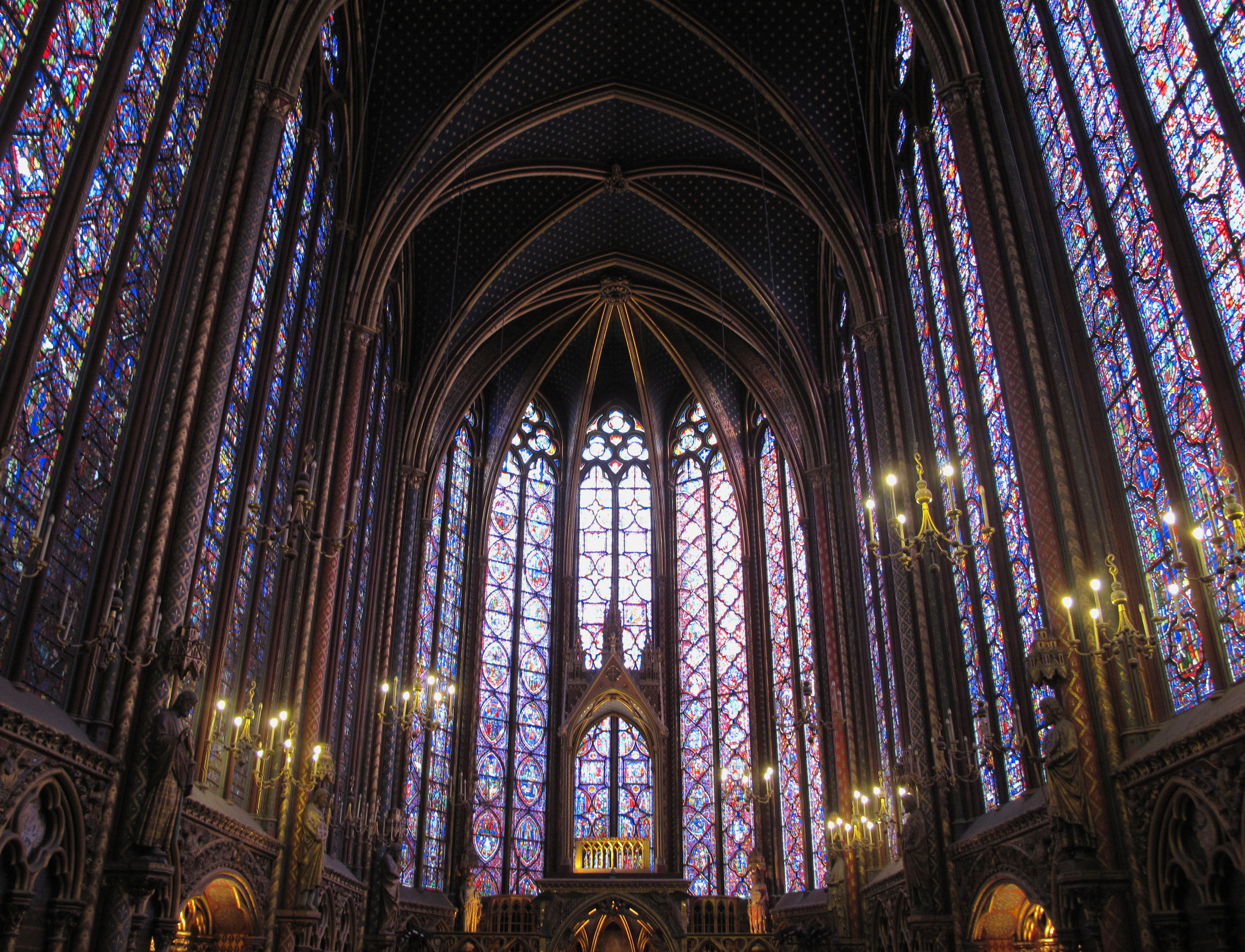 The inside of Sainte Chapelle, the stained glass windows