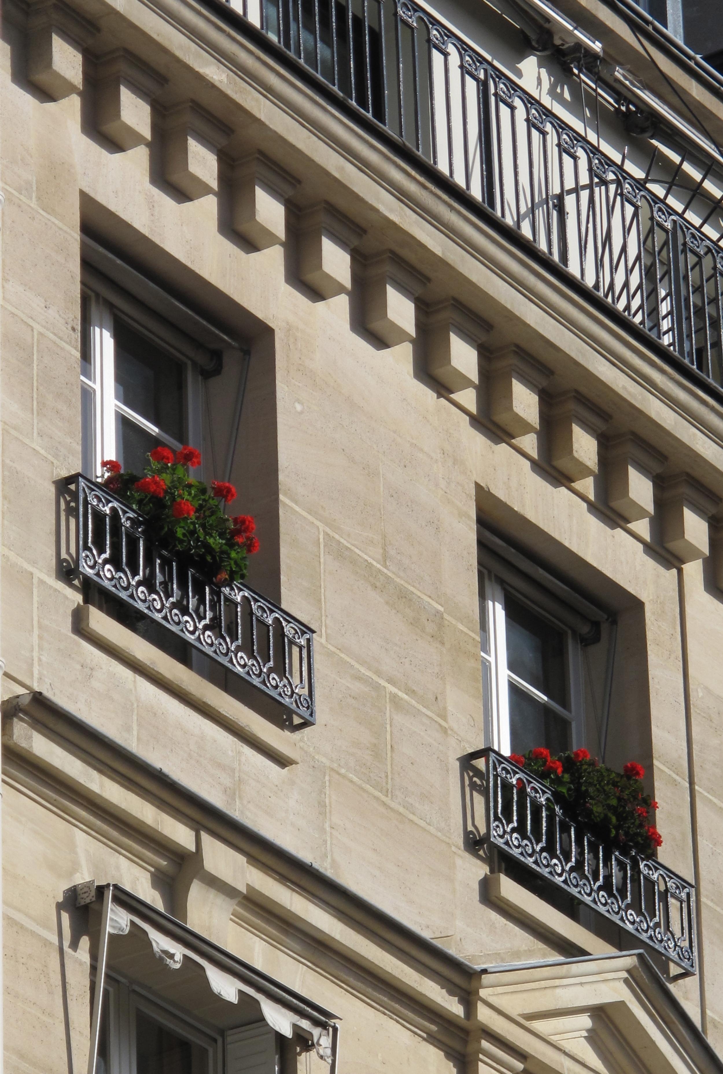 Quaint stone buildings and window flowers on the Île Saint Louis