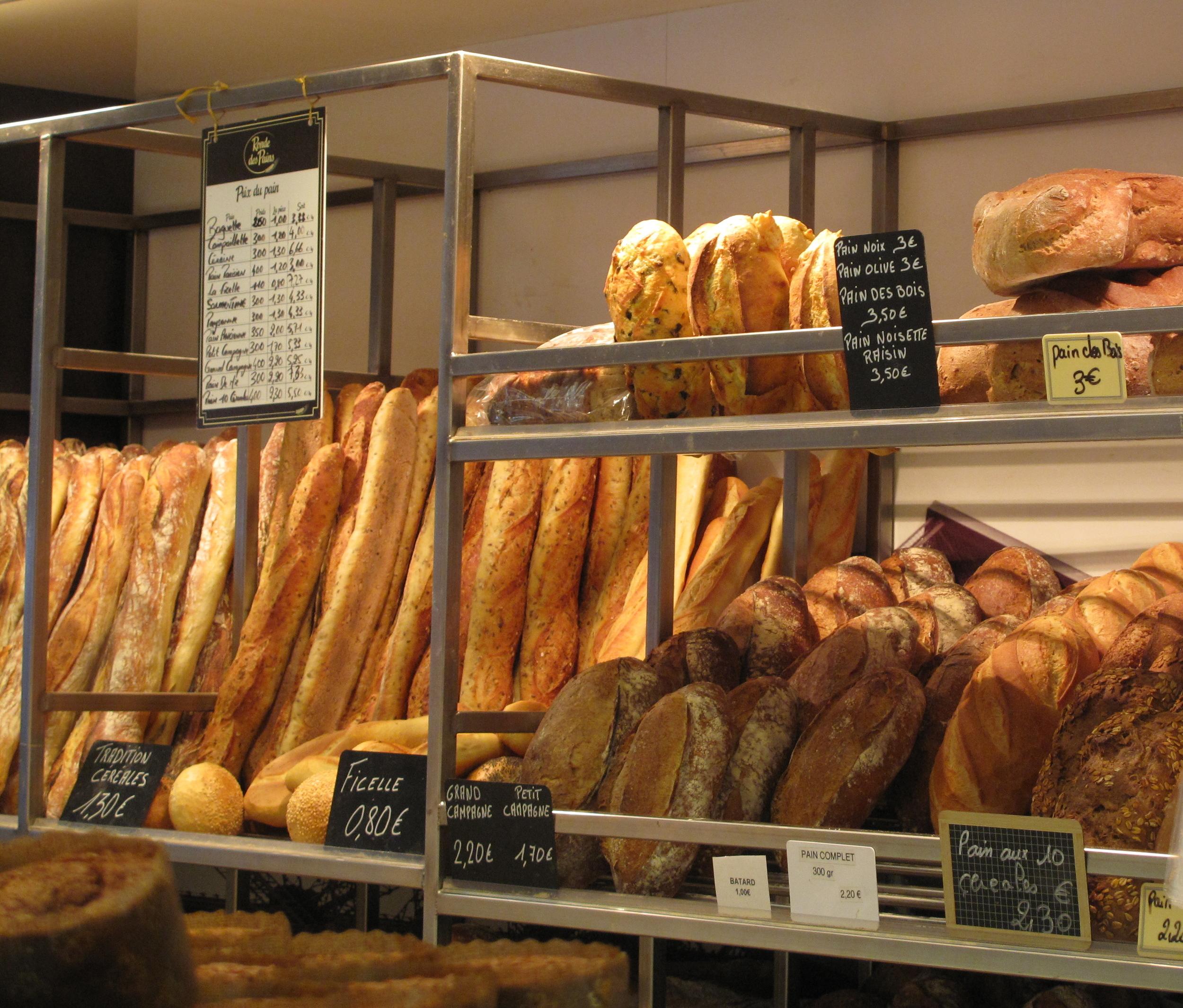 Bread in a boulangerie, Paris