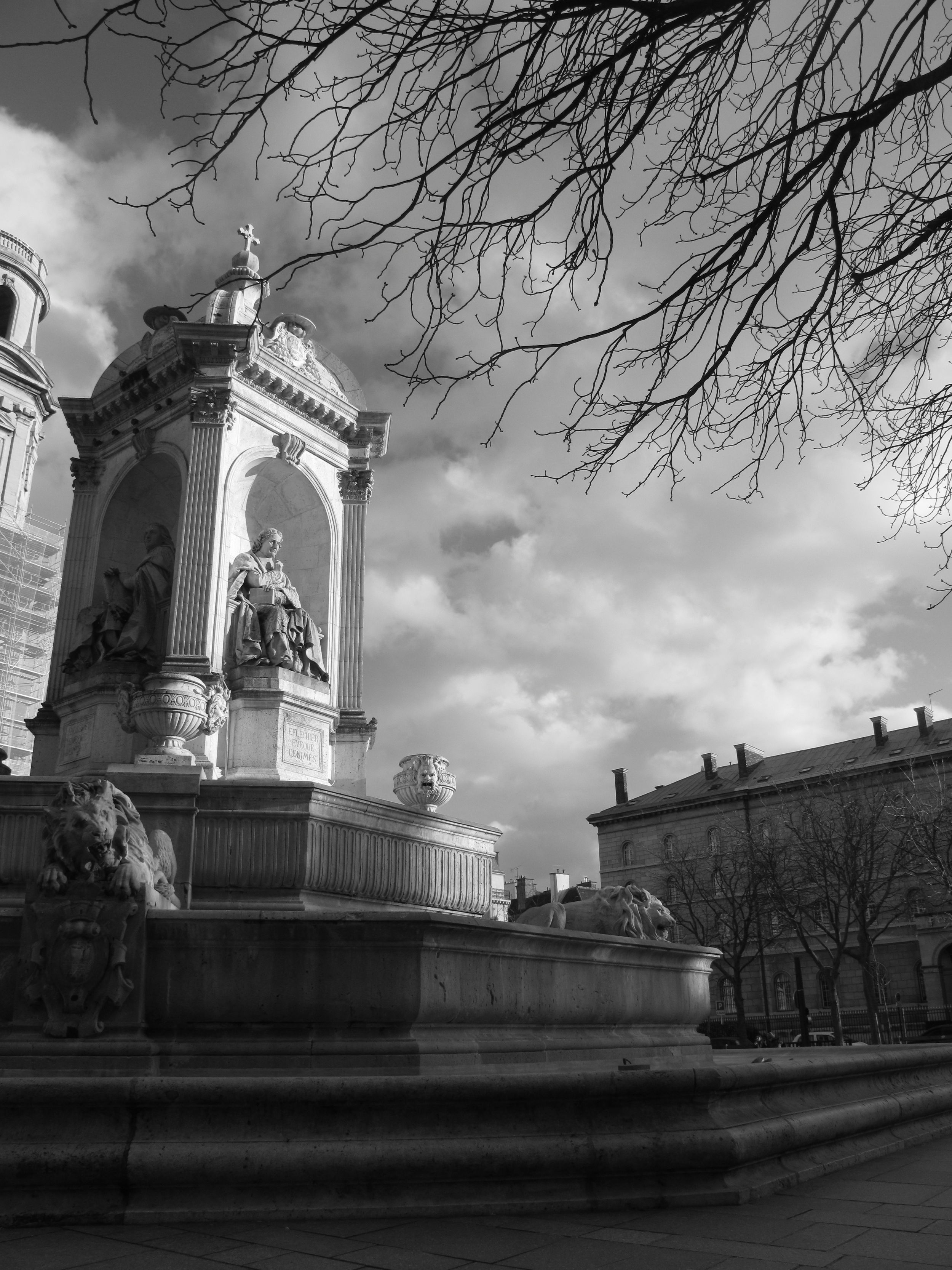 Place Saint-Sulpice - a square outside the church in black and white photography
