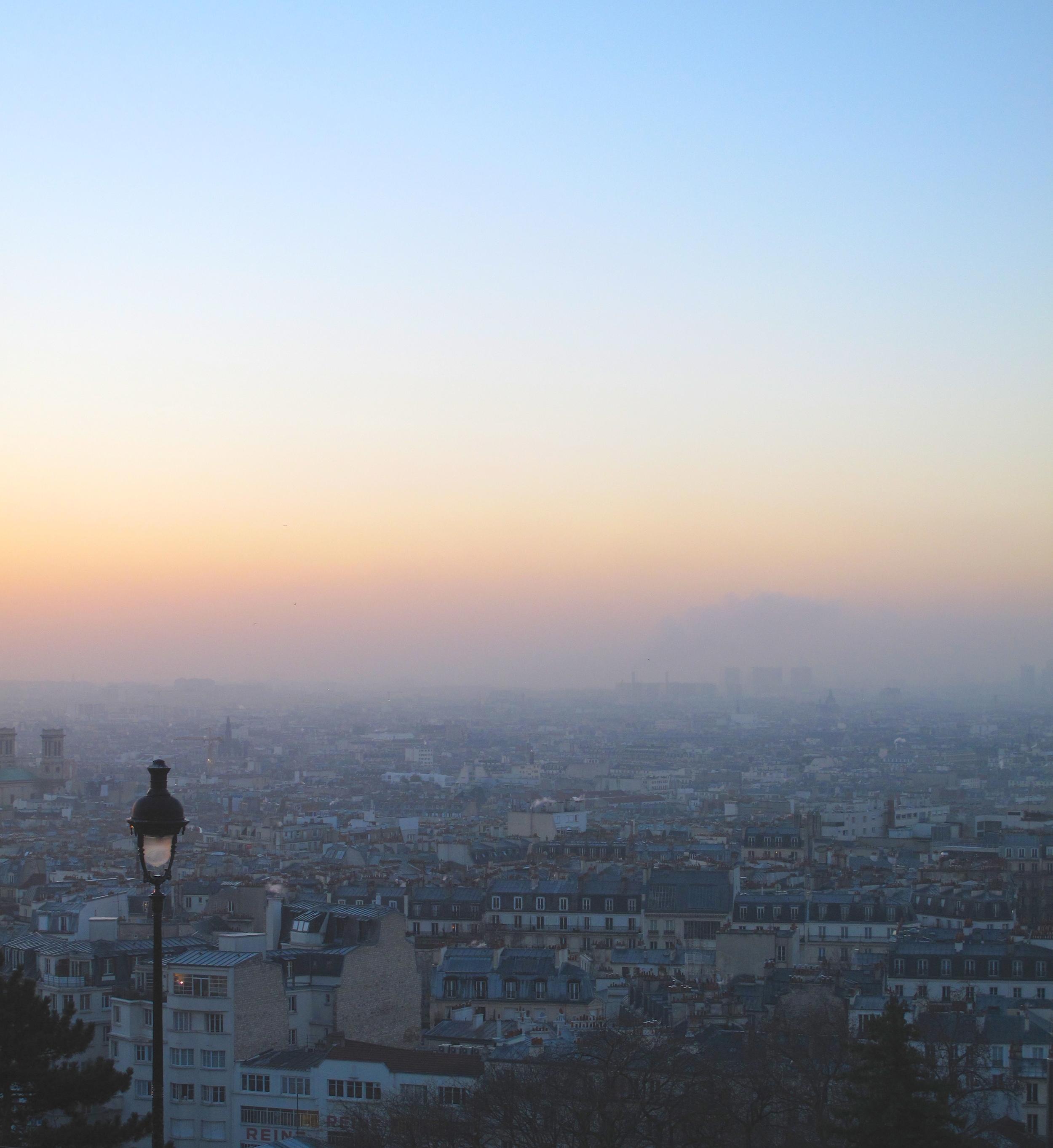 The view of Paris city from Sacré Coeur at sunrise