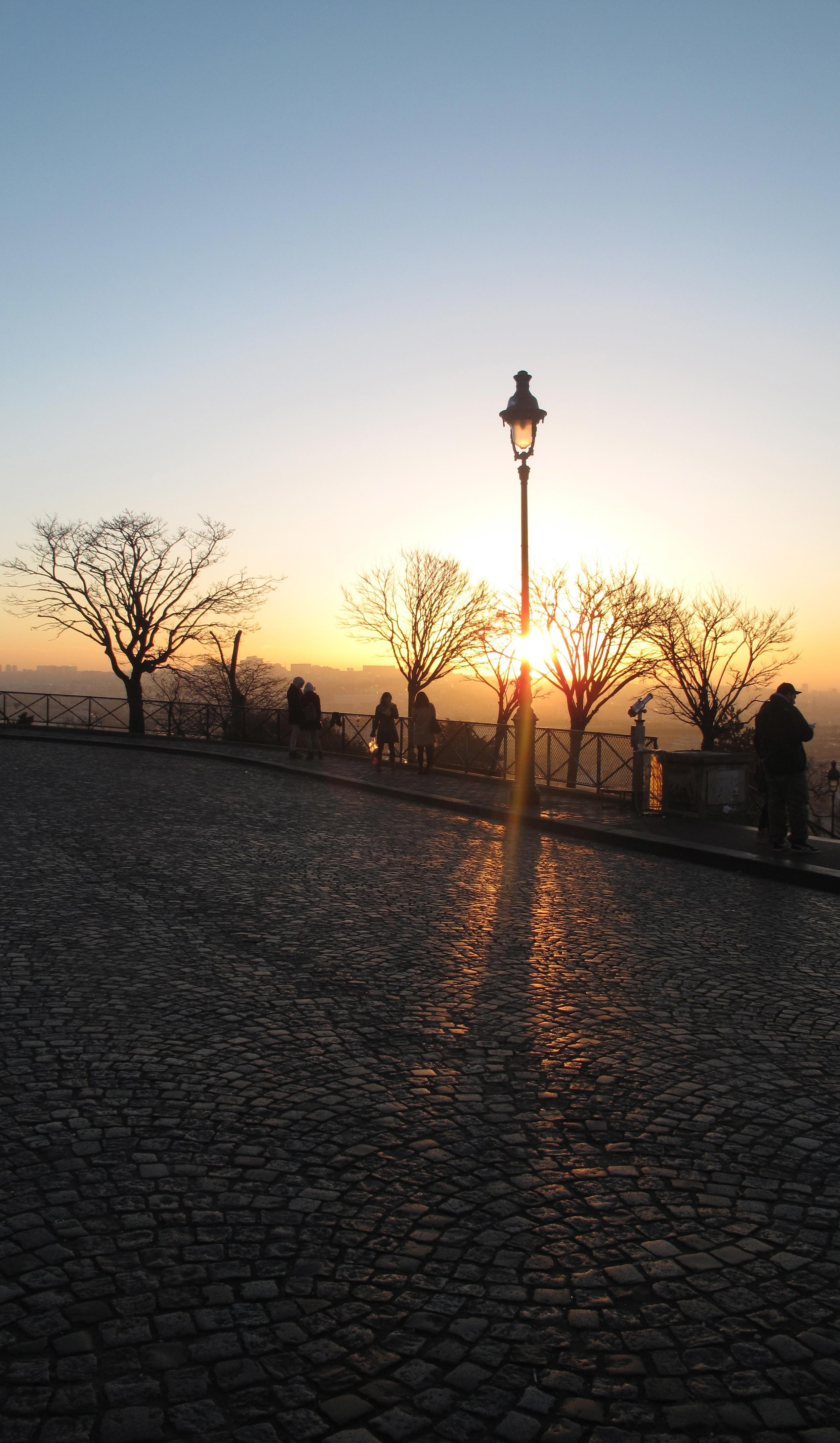 Sunrise on the cobblestones of Montmartre, Paris