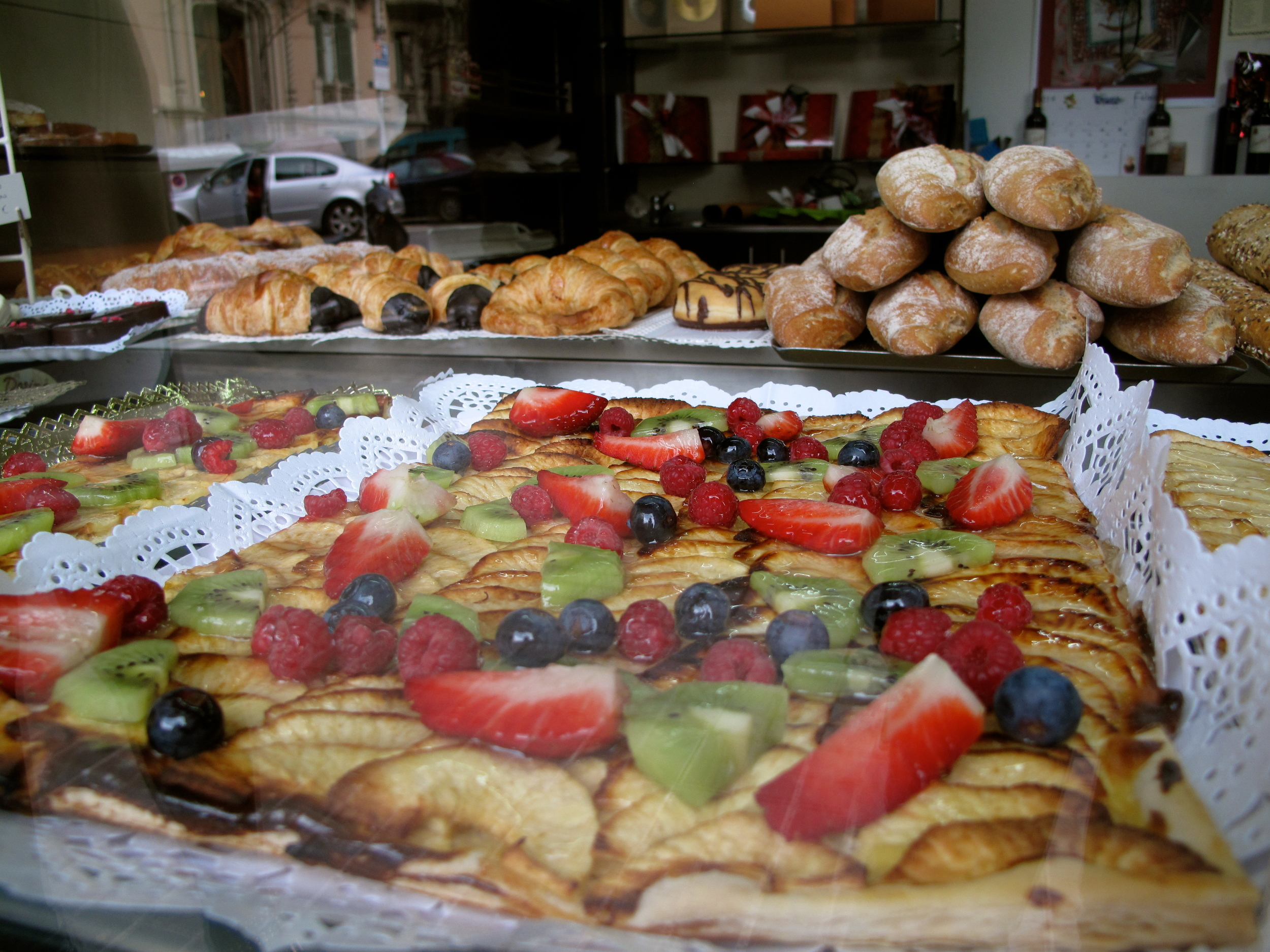 Spanish pastries with fruit in Barcelona