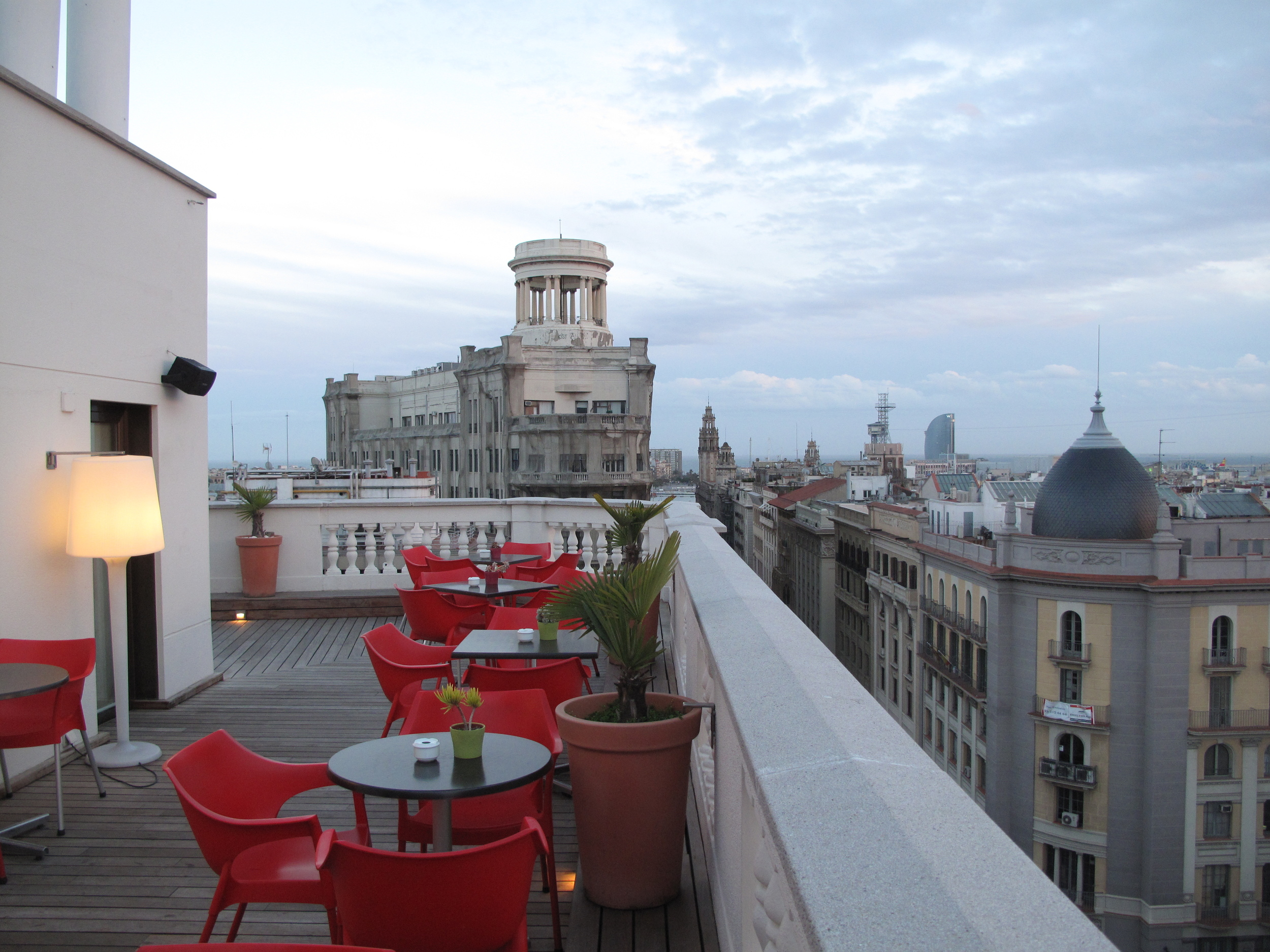 Sneaking onto a rooftop bar in a hotel in Barcelona