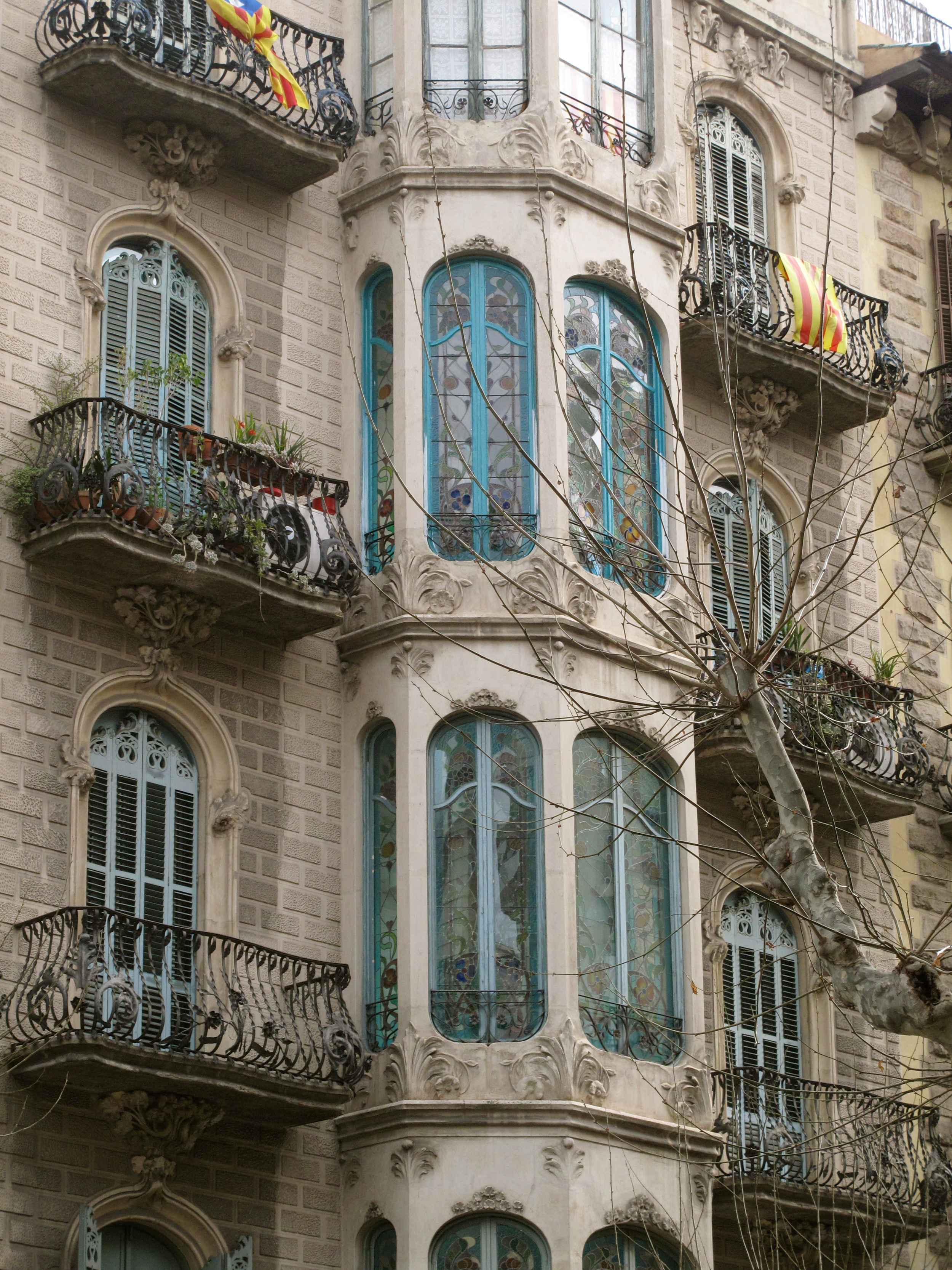 Windows of buildings in Barcelona