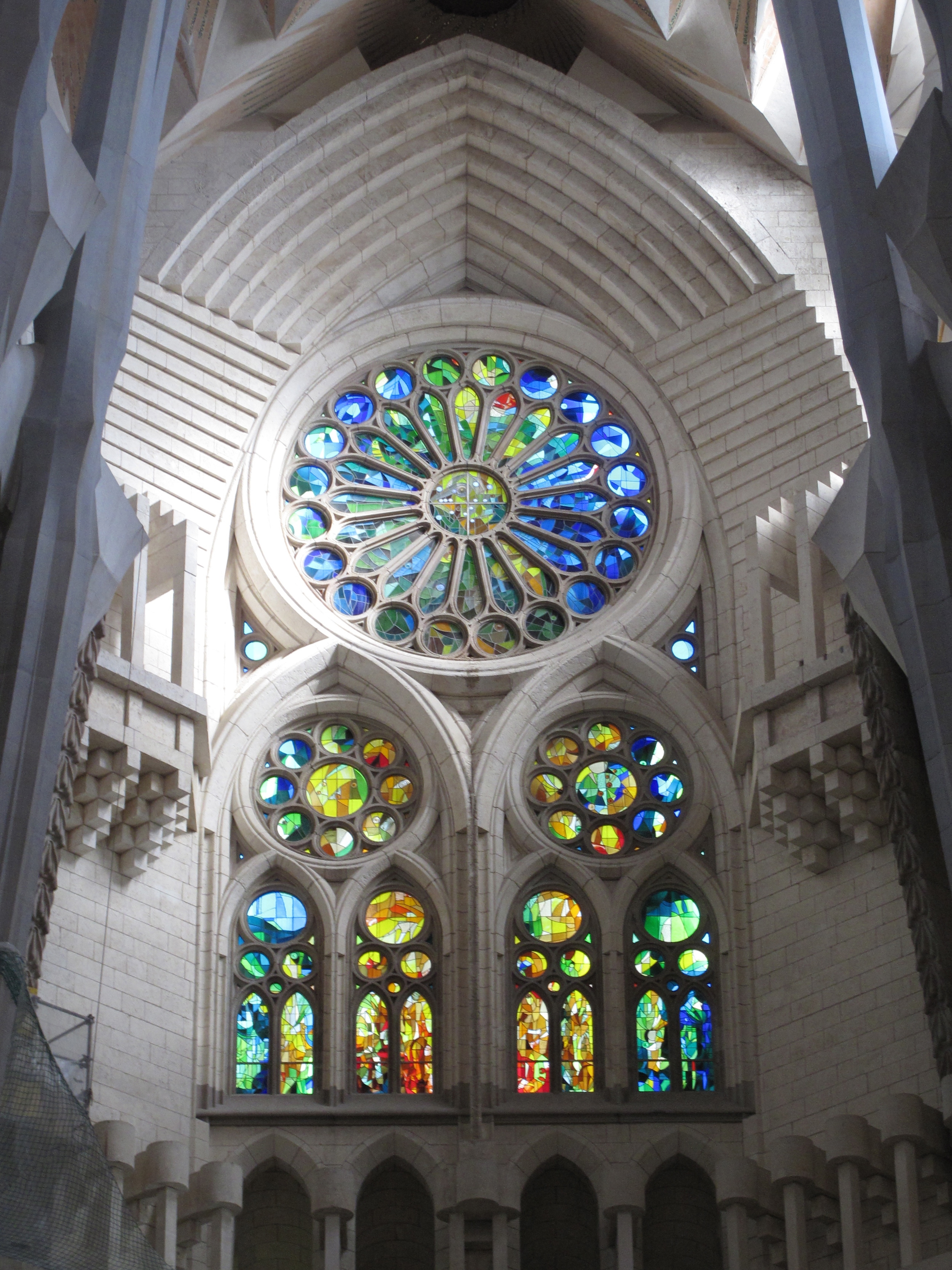 Stained glass window inside Sagrada Familia