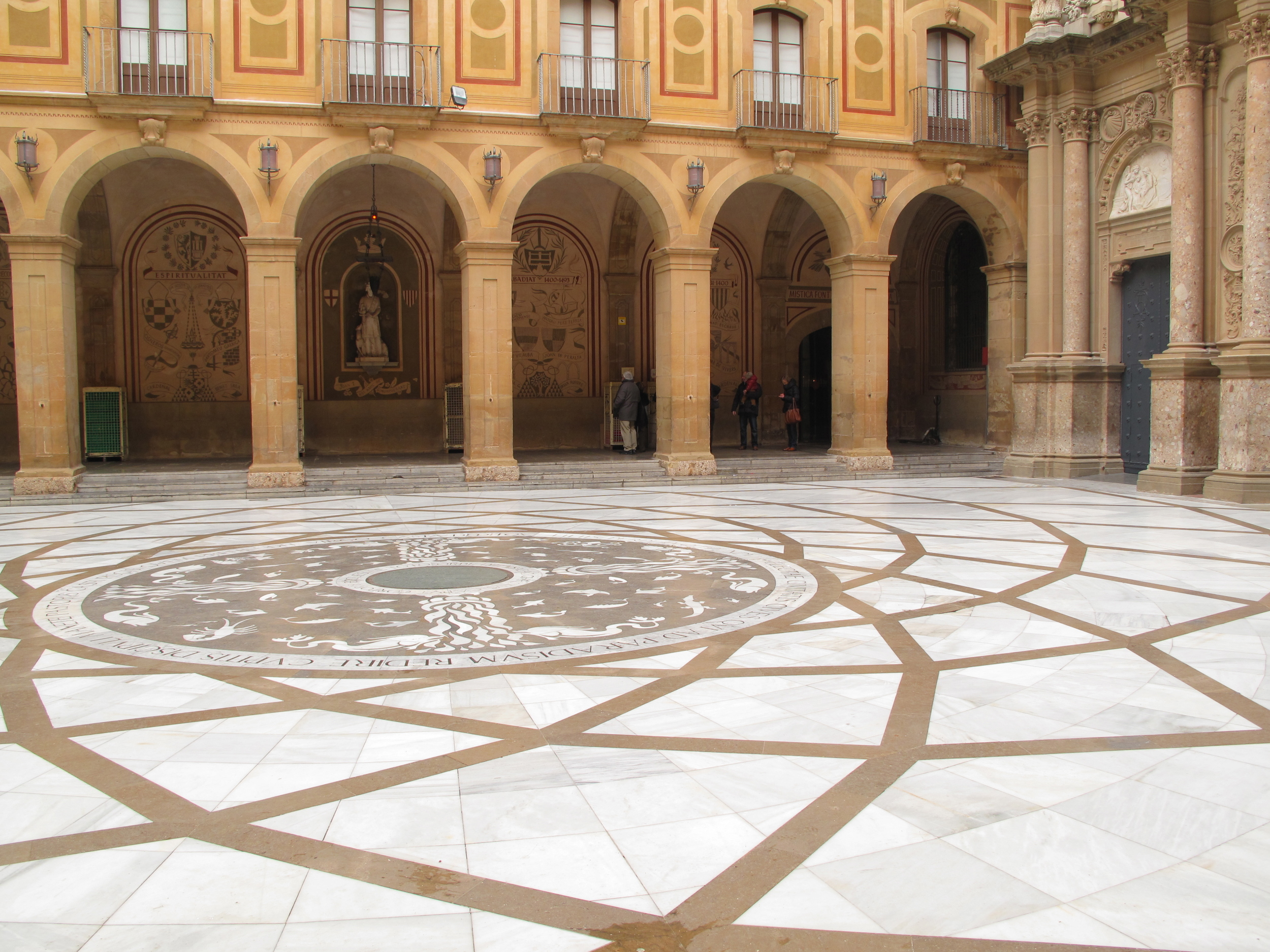 Courtyard and tile patterns at the Montserrat monastery.