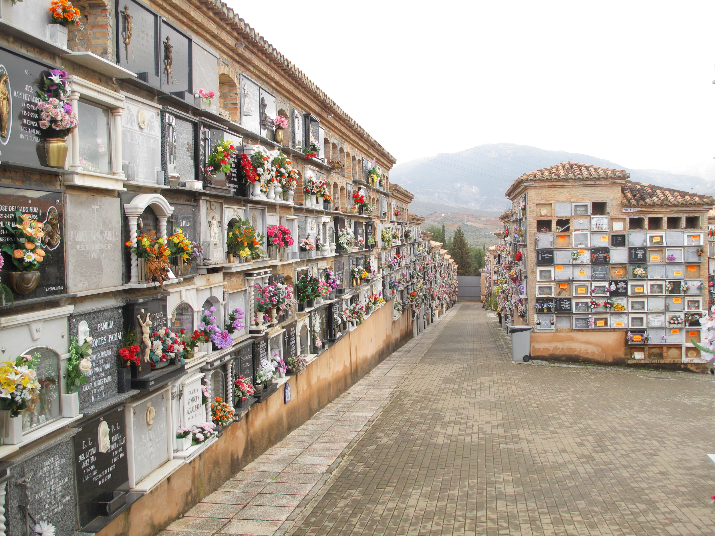 Cemetery in granada - with small boxes in large buildings, each one with a plaque and flowers