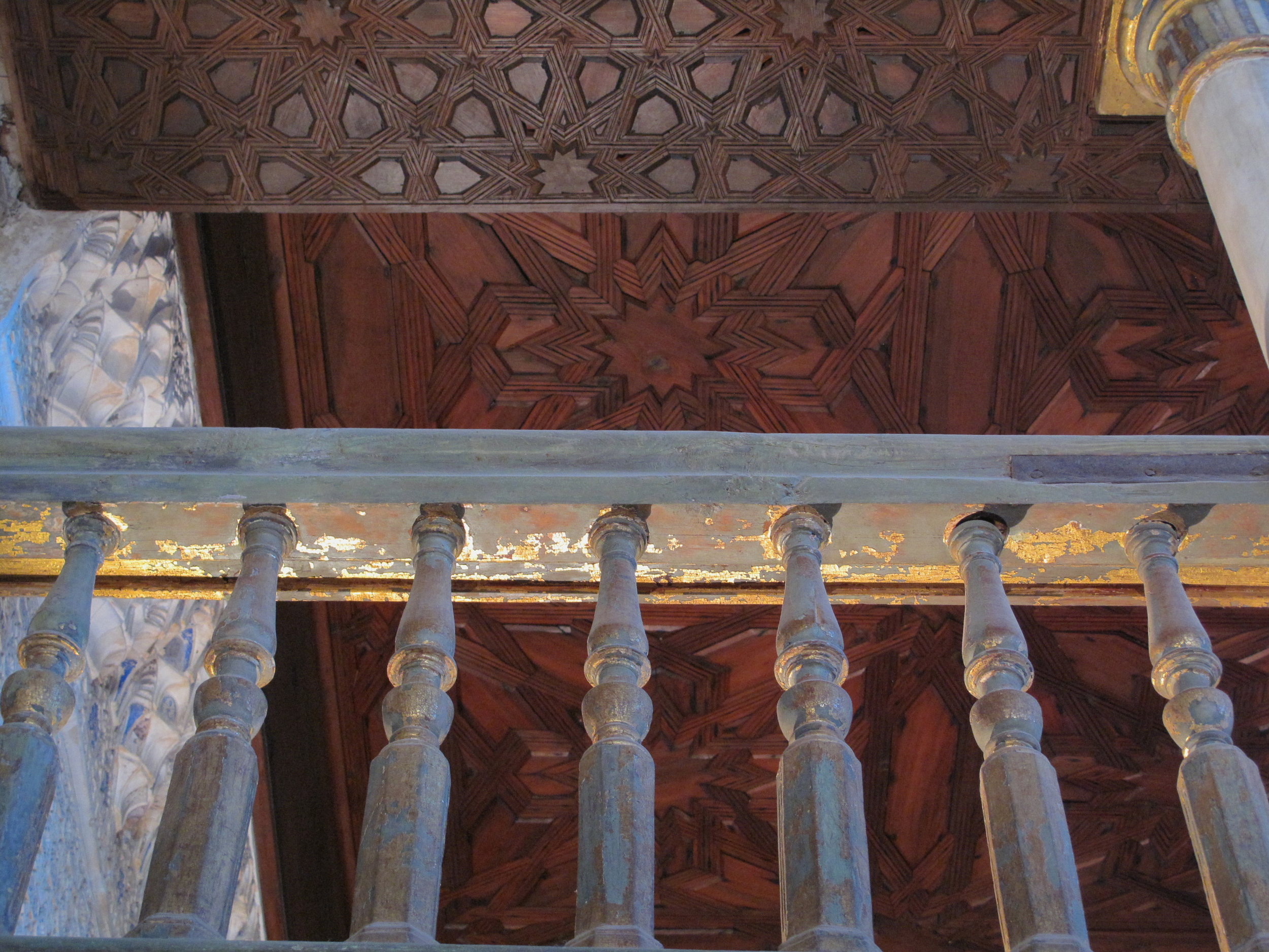 Banisters flecked with gold paint