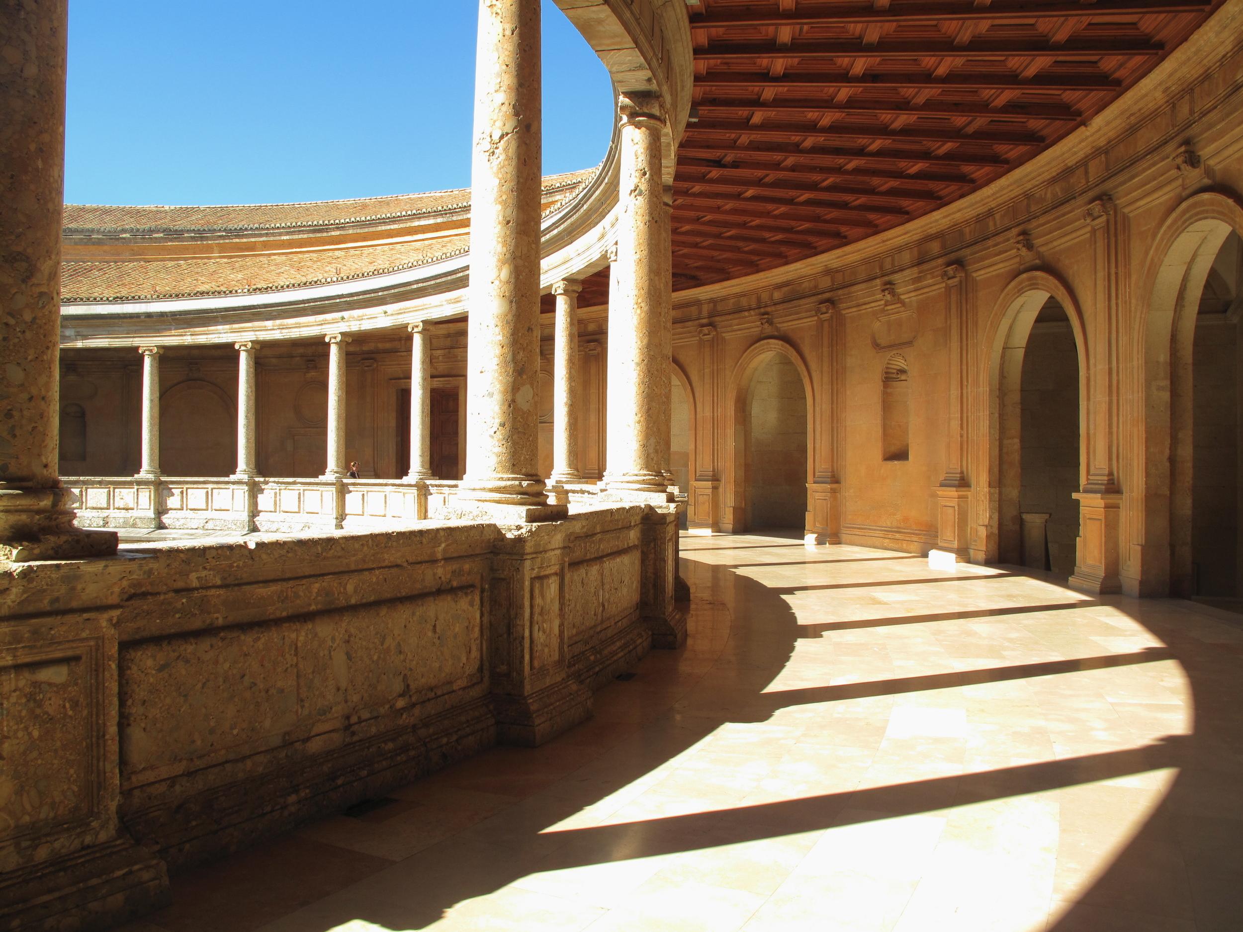 Circular courtyard of Charles V palace at Alhambra