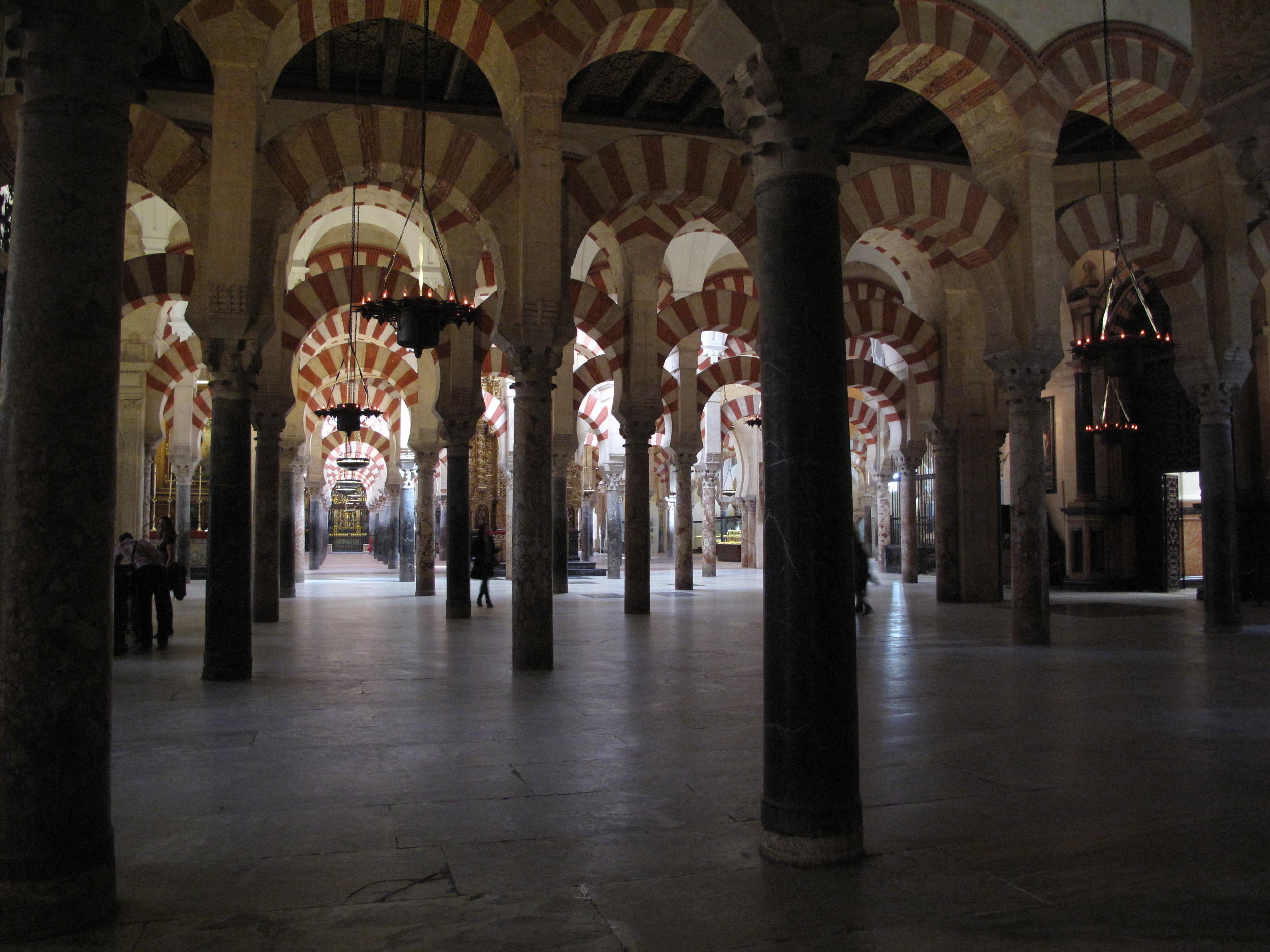 Mosque of Córdoba in Spain - painted pillars as far as the eye can see