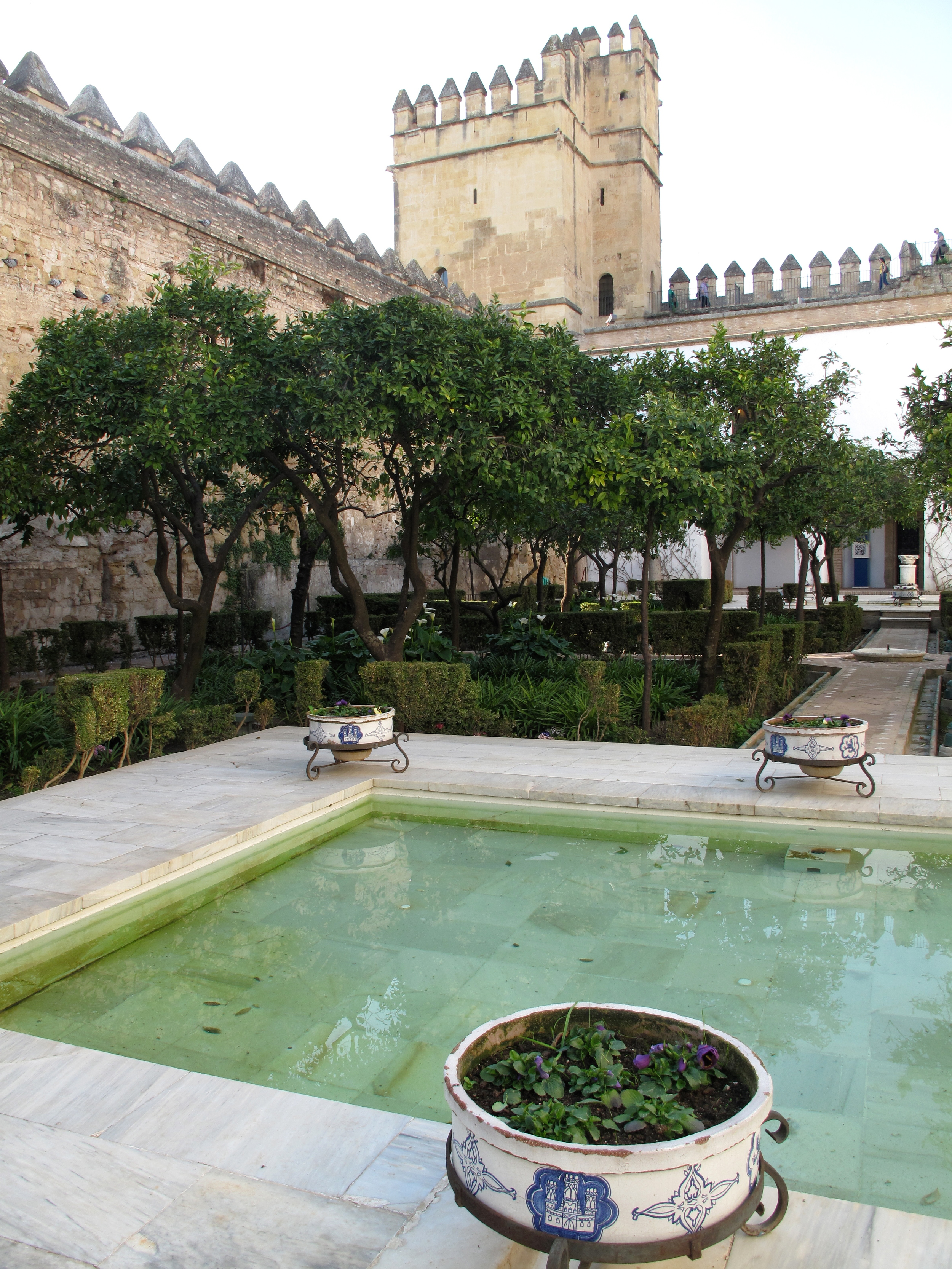 Castle of Alcazar - pool and crenellated walls