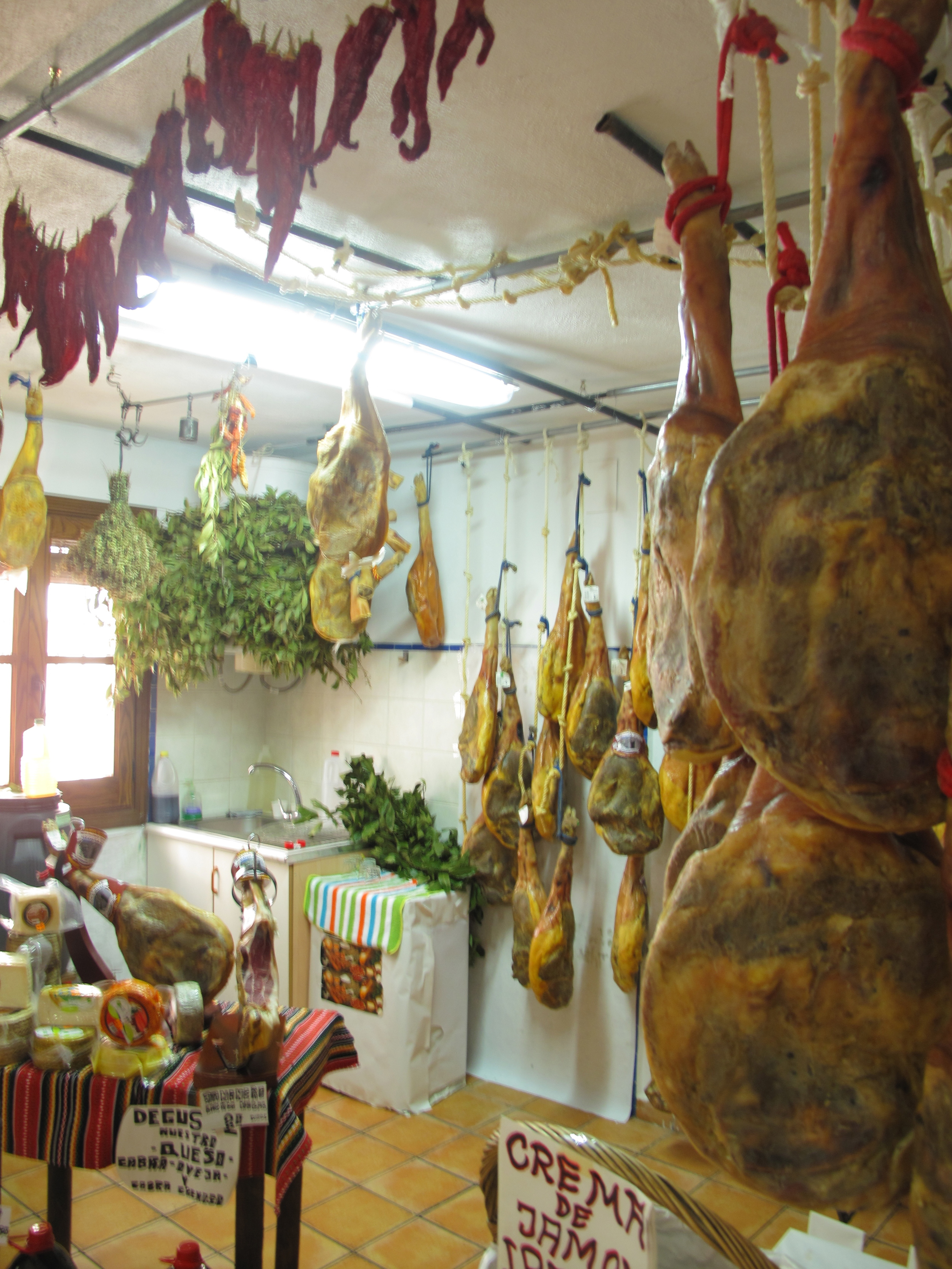 Shop in the Spanish mountains selling jamon, honey, herbs and chillies