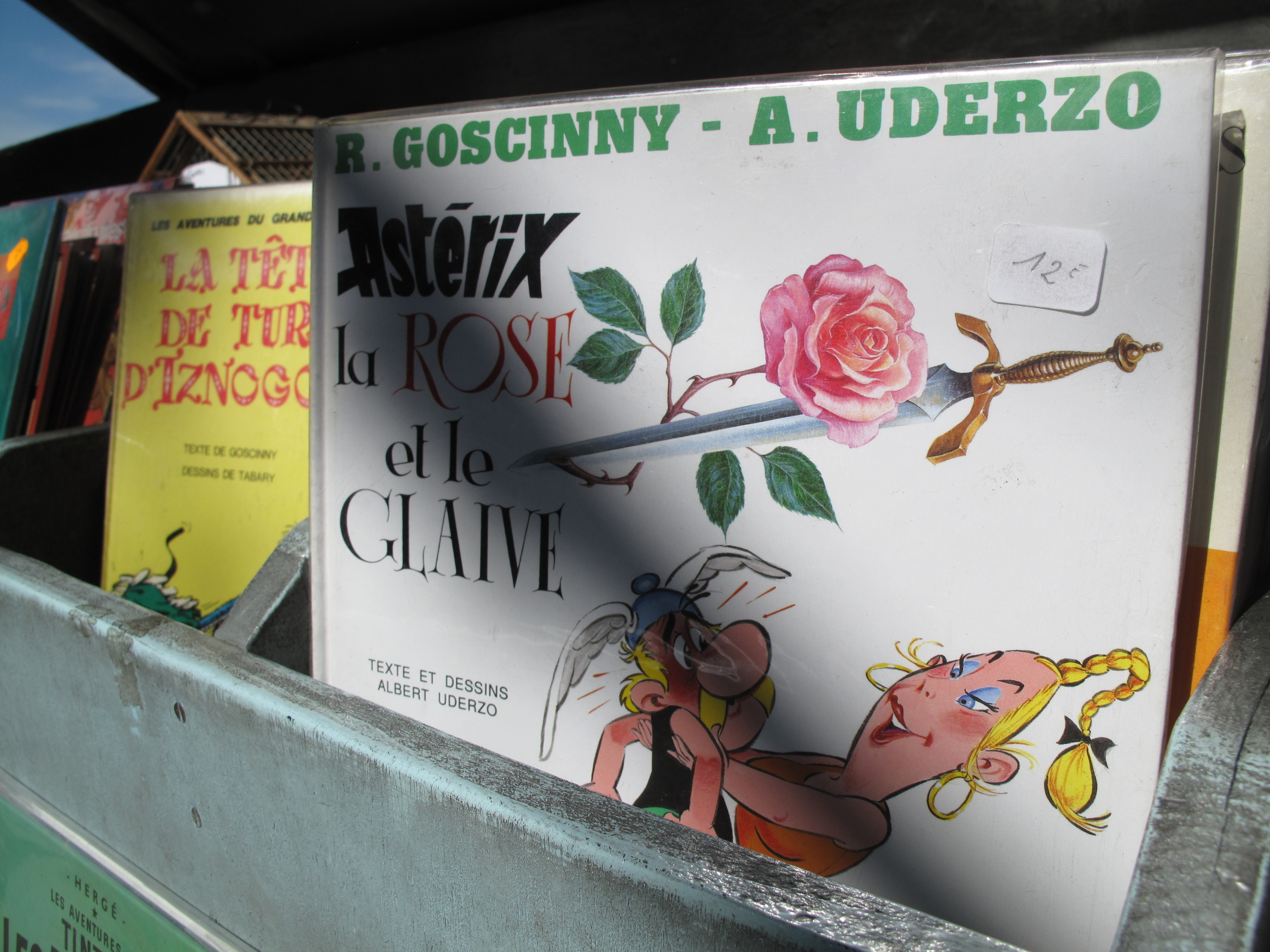 Books of Asterix and Obelix at a bouquiniste on the Seine