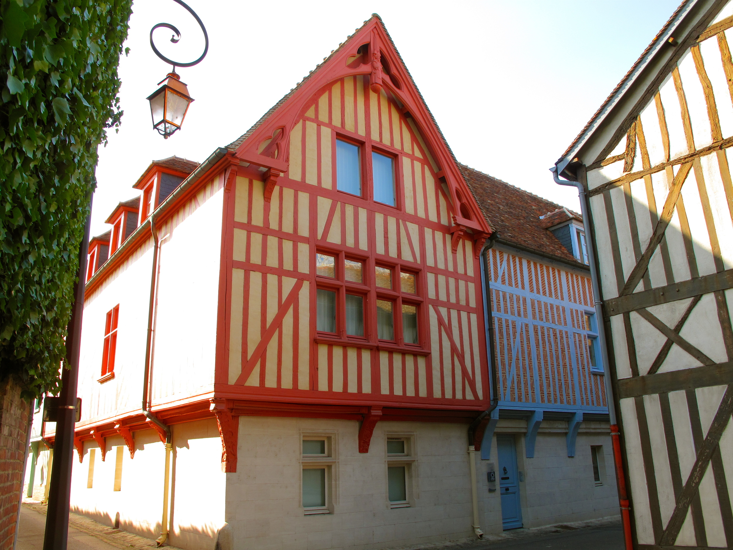 Beautiful old houses - timber frames painted in colours, in Beauvais, France