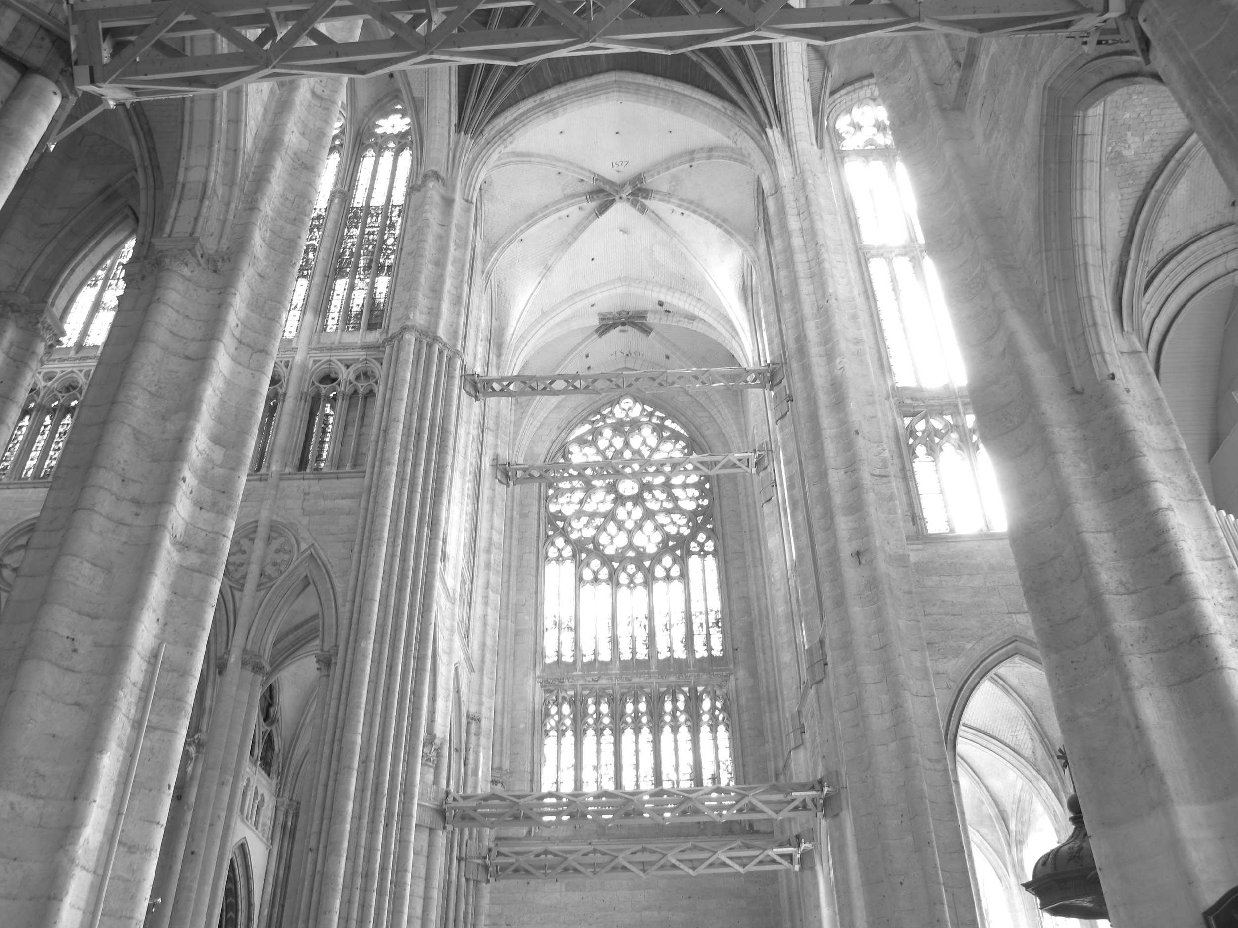 Beauvais Cathedral being held up by beams of wood because the vaults are too high
