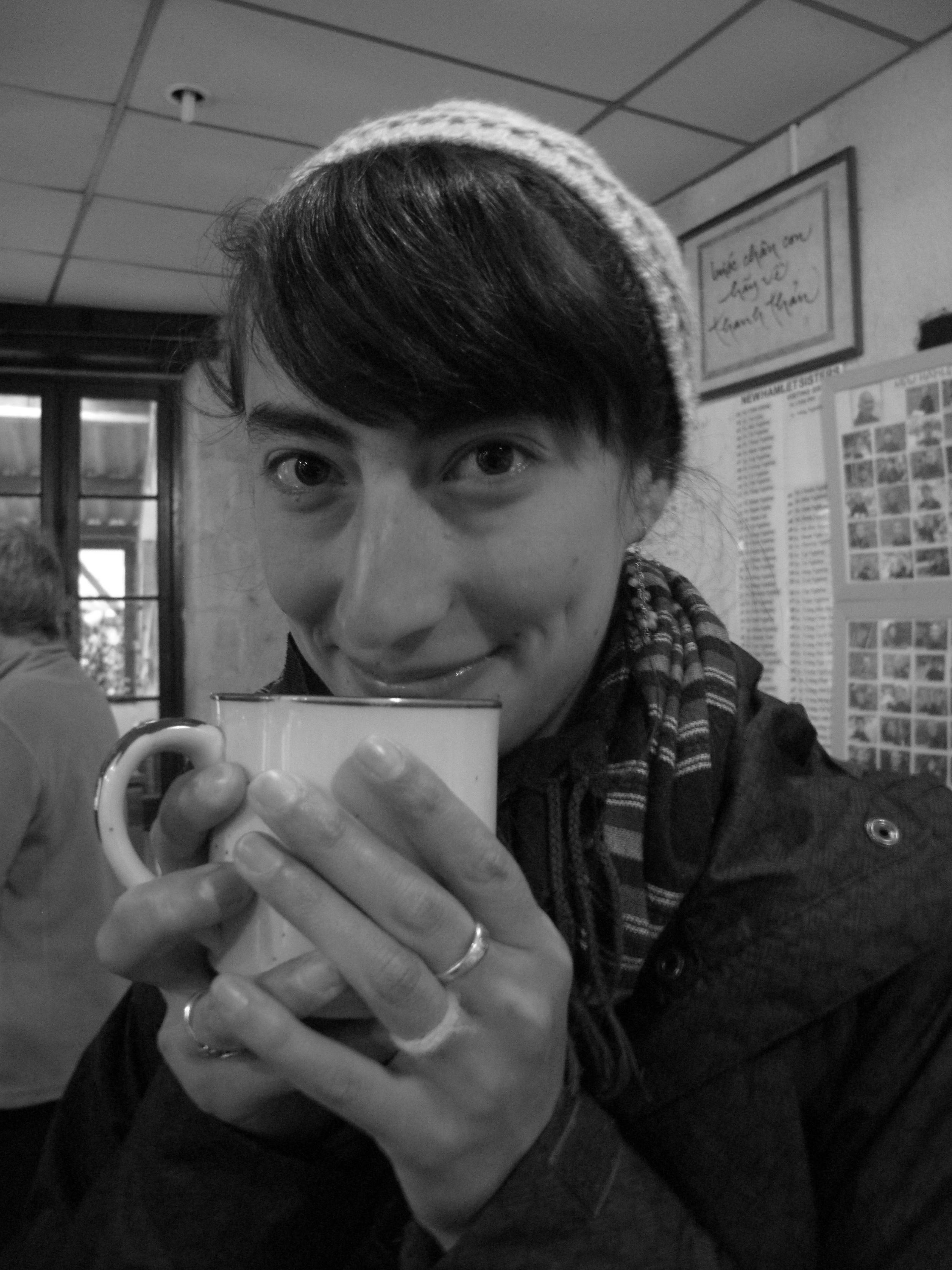 Rachel having a cup of tea at Plum Village