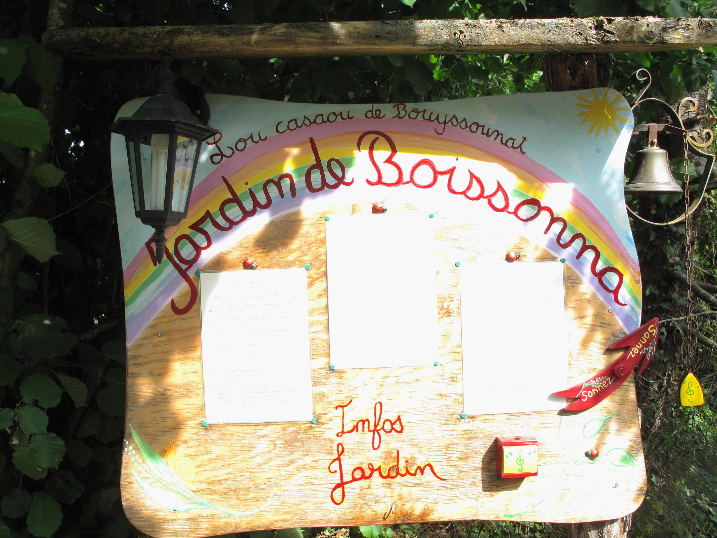Sign for the Jardin de Boissonna - a notable garden in Bordeaux,France