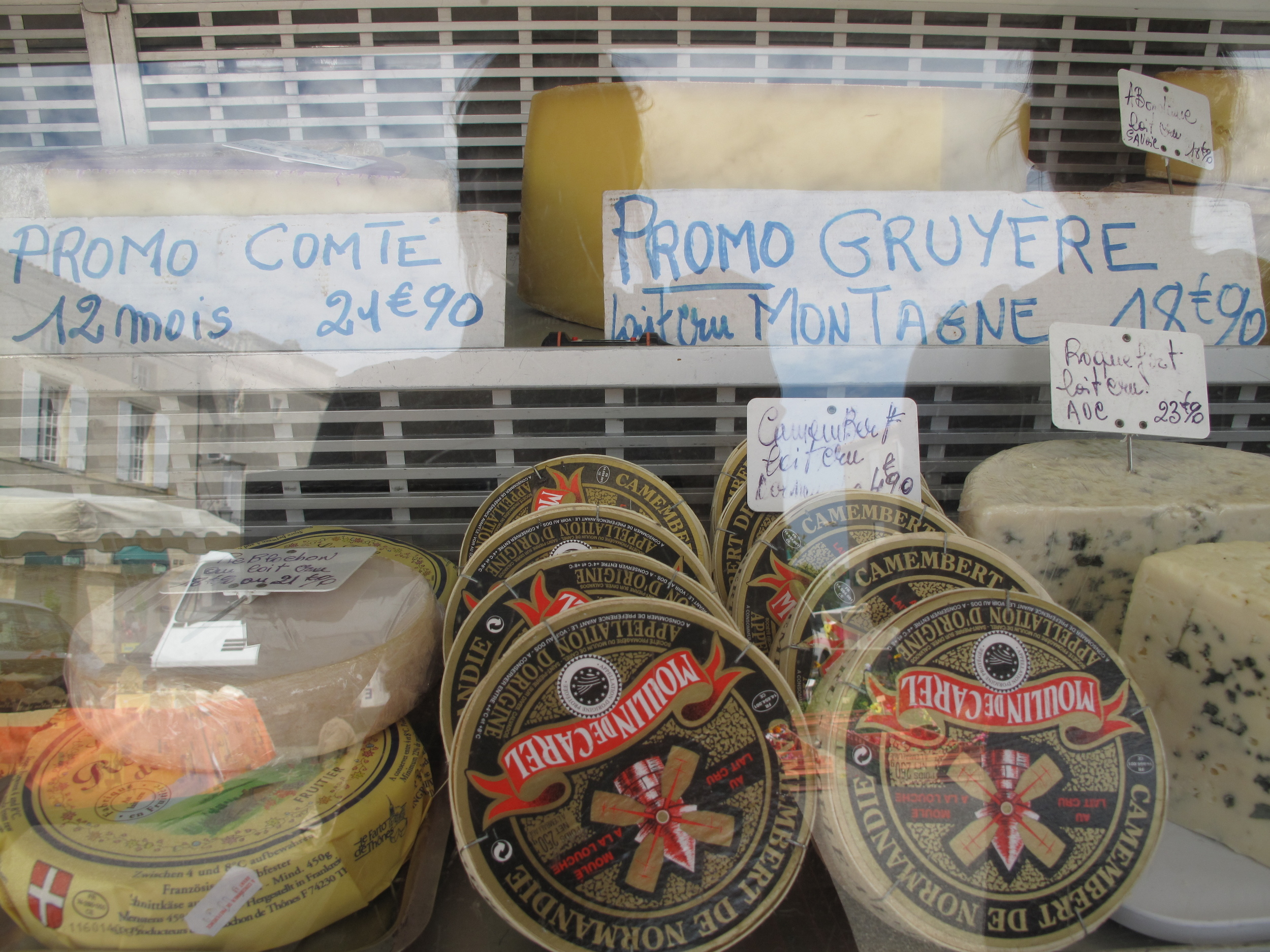 French cheeses at the market place of Duras
