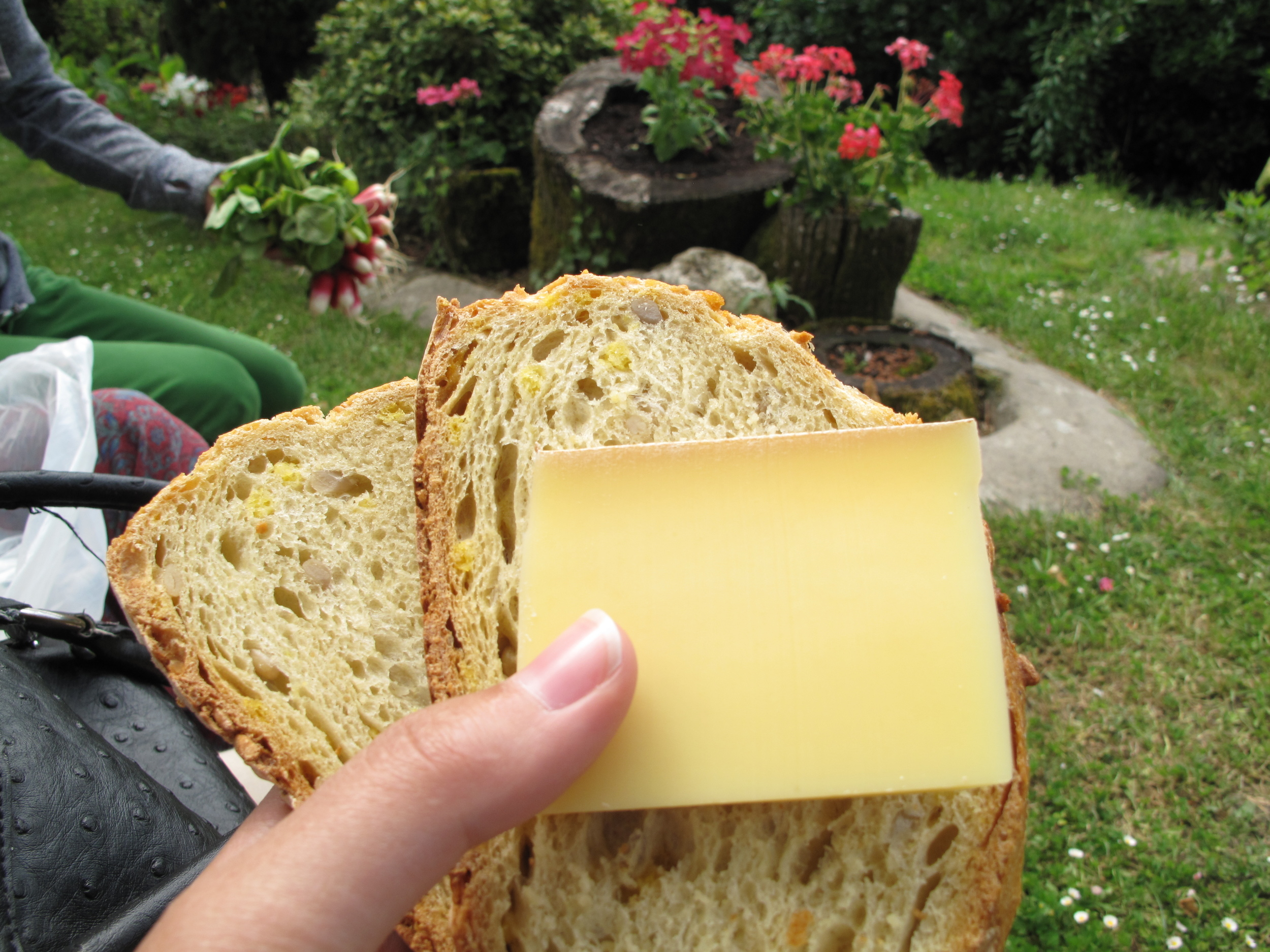 A picnic with friends in Duras - with bread and cheese and radishes from the market