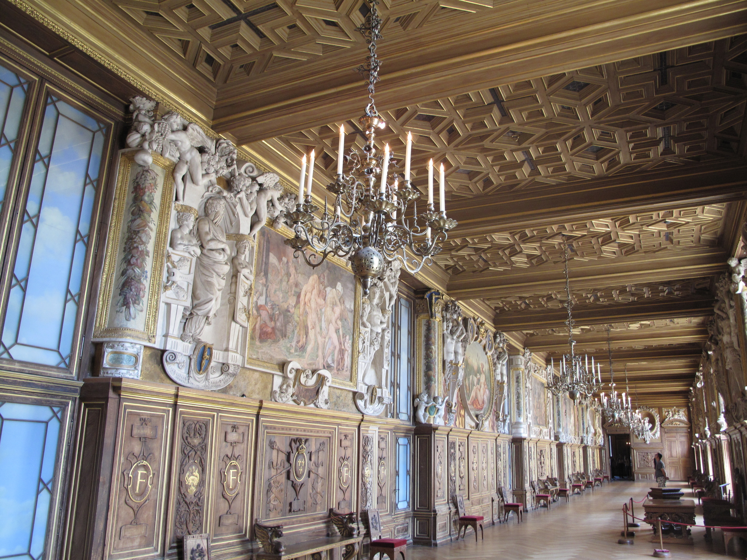 Fontainebleau palace France hallway