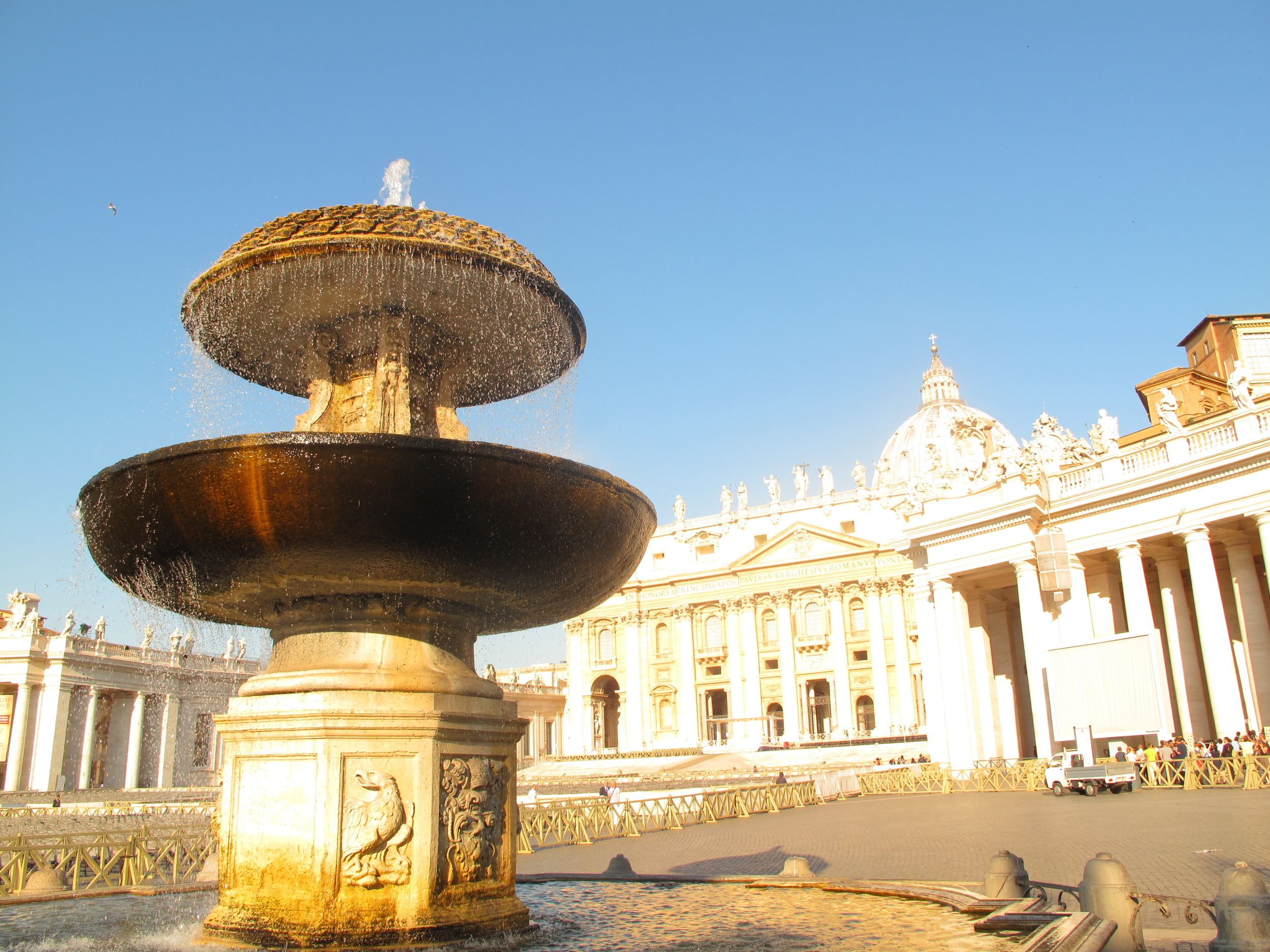 Fountain in the square of St Peter's Basilica