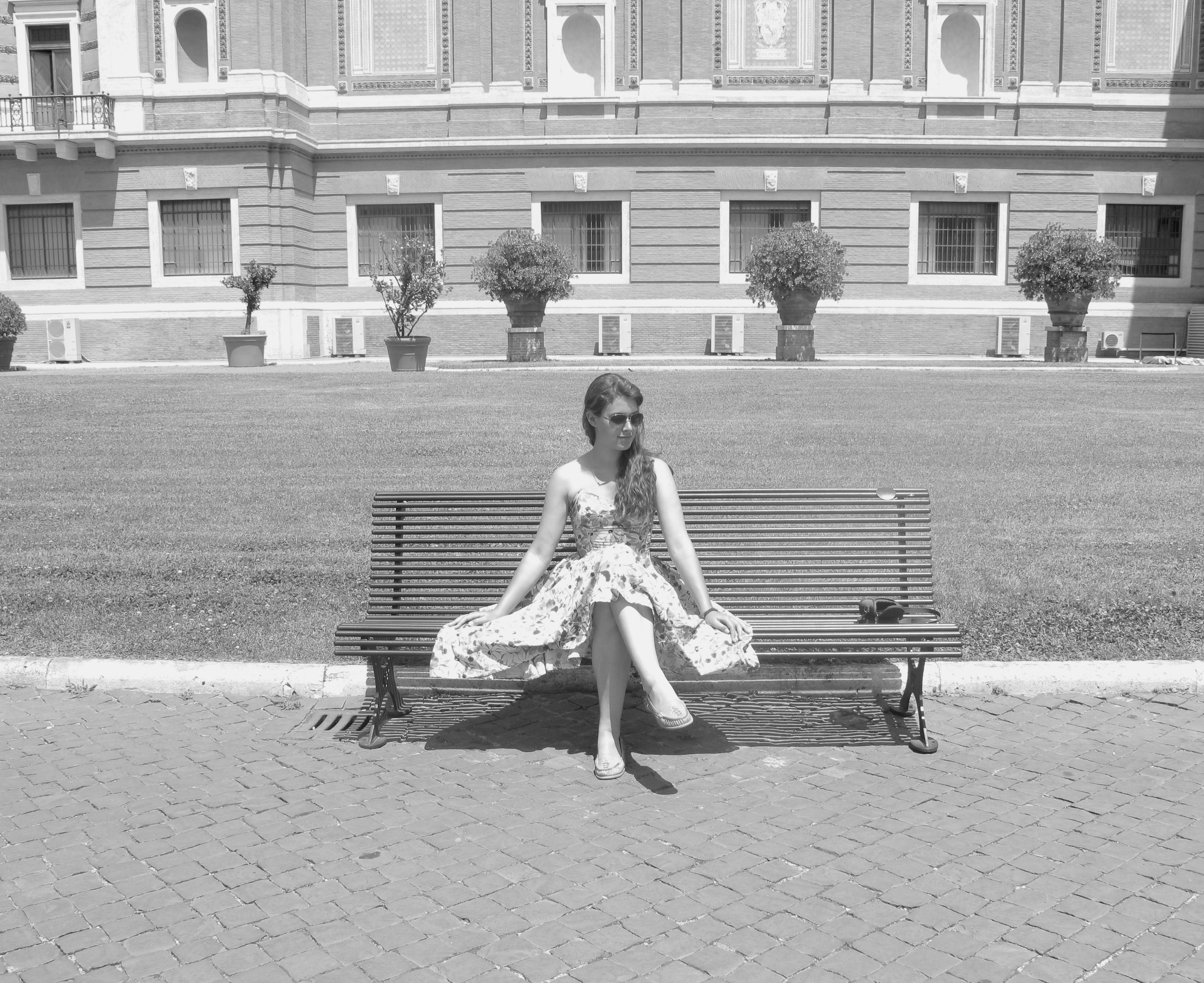 Sitting in the courtyard of the Vatican