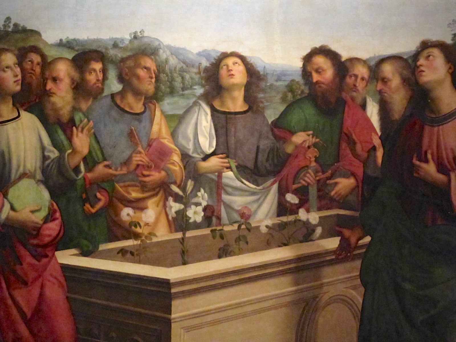 Detail of Raphael's Crowning of the Virgin painting, in the Vatican museums