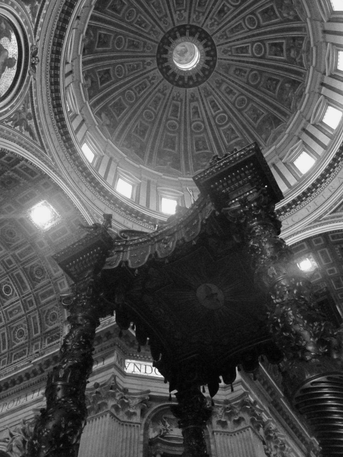 The inside and dome of St Peter's Basilica, rome