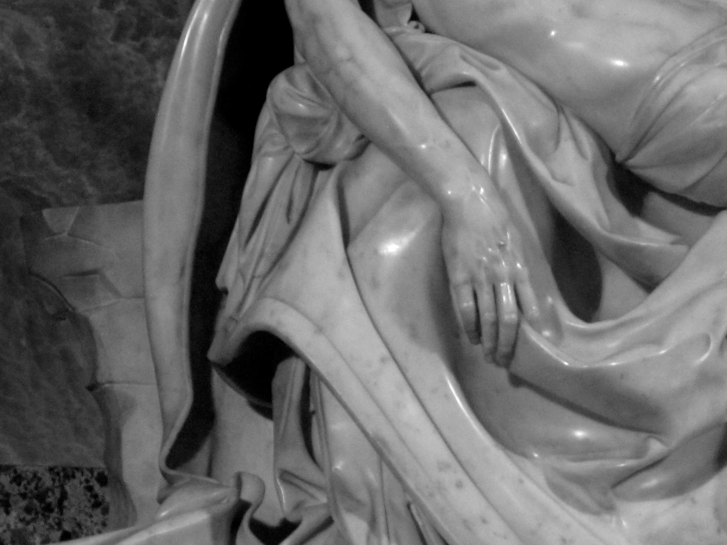 Hand of the Christ on Michelangelo's Pietà