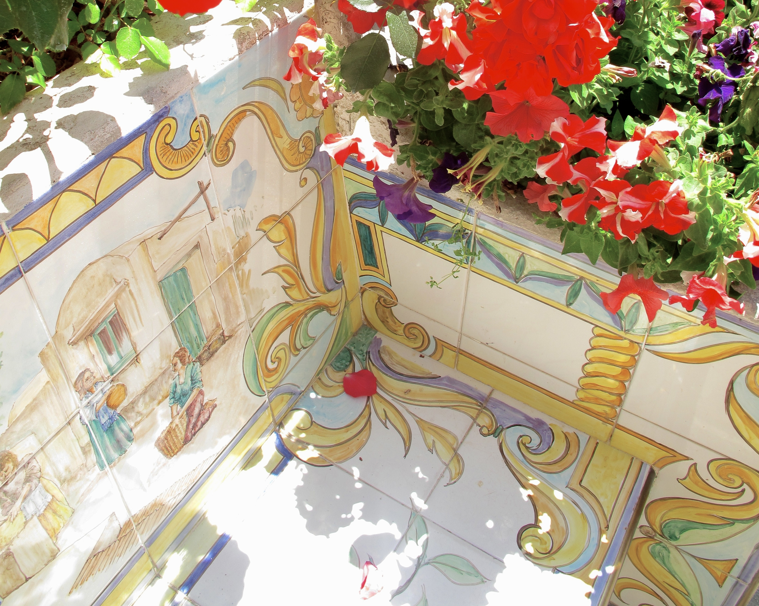 A beautiful painted tiled bench in Anacapri