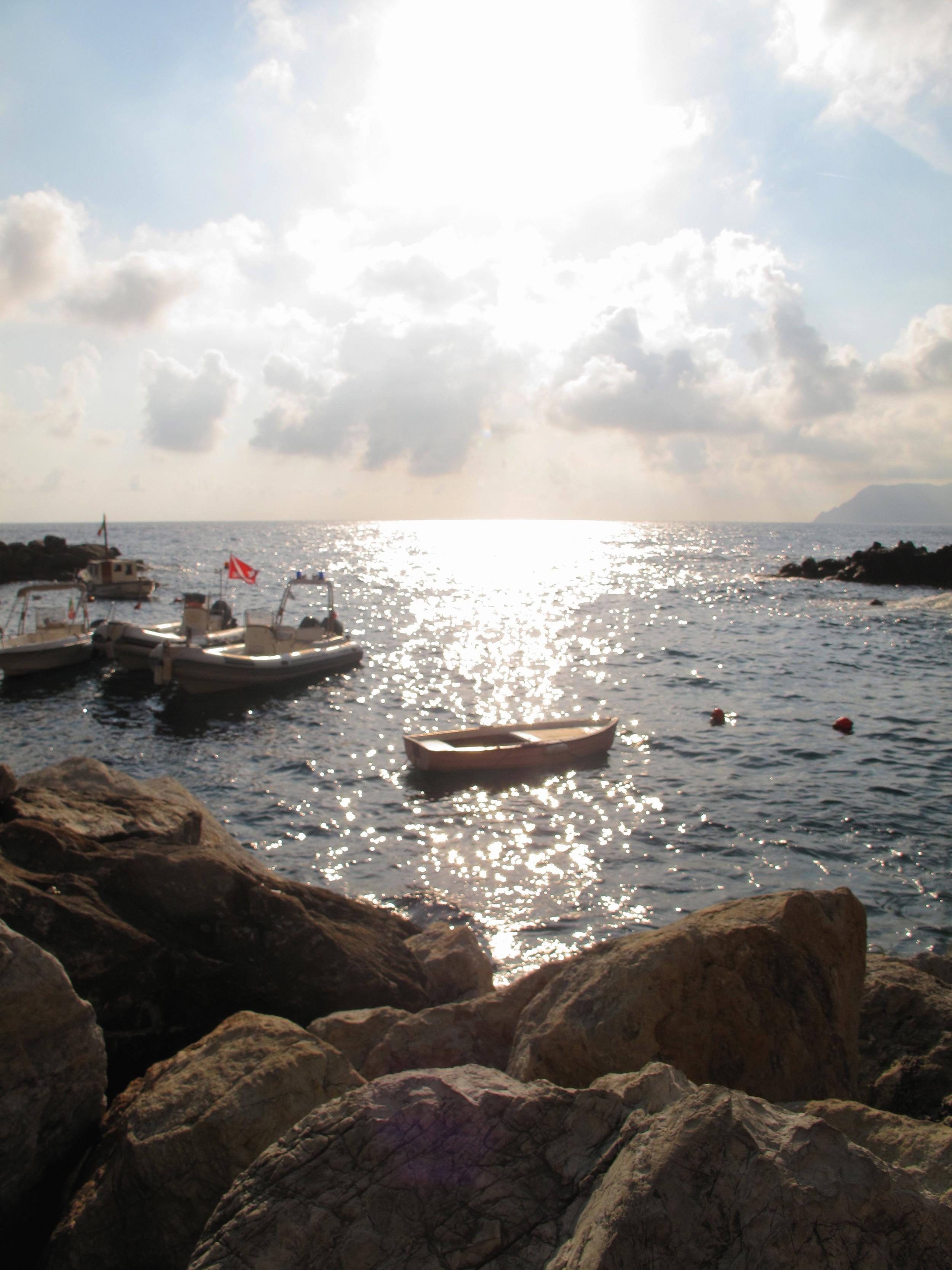 Boats in the small bay of Riomaggiore, on the Cinque Terre