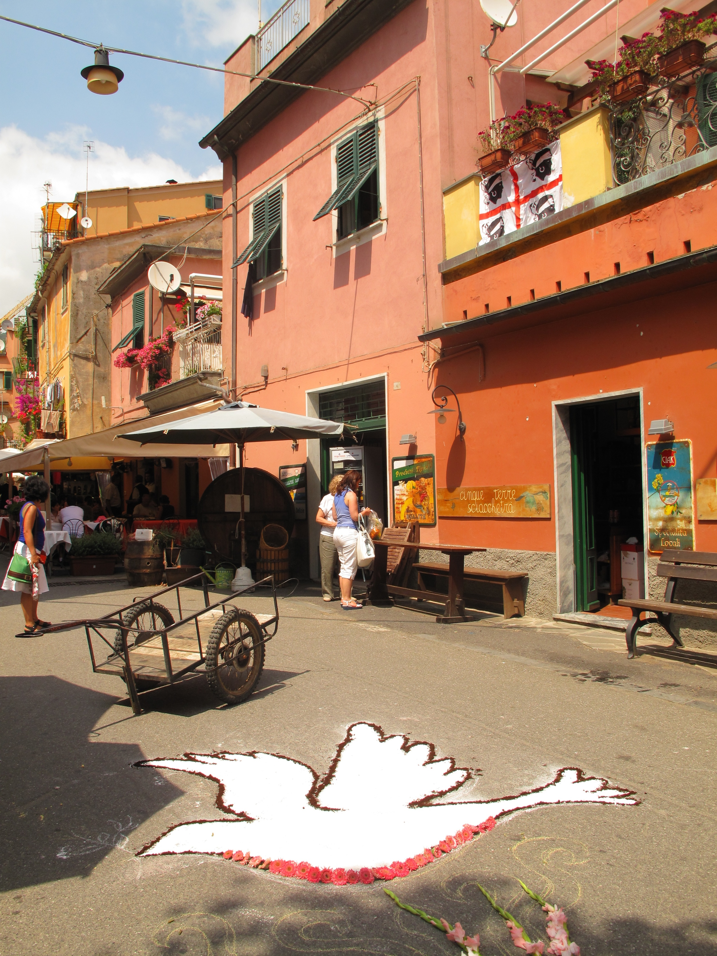 Infiorata flower shows and pictures made of flowers - a dove made of flowers