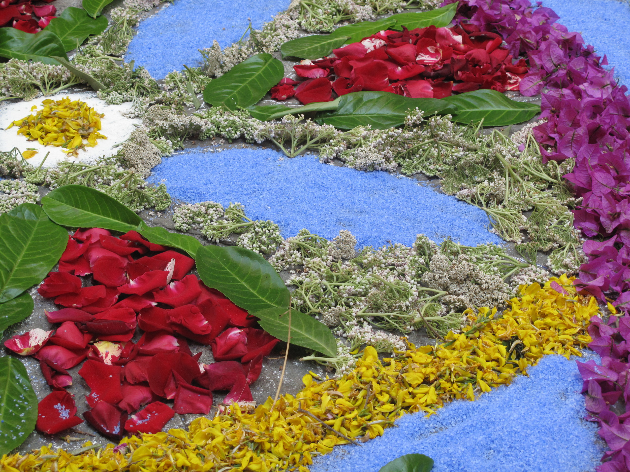 Infiorata colourful italian flower mandala made from petals, leaves and sand.