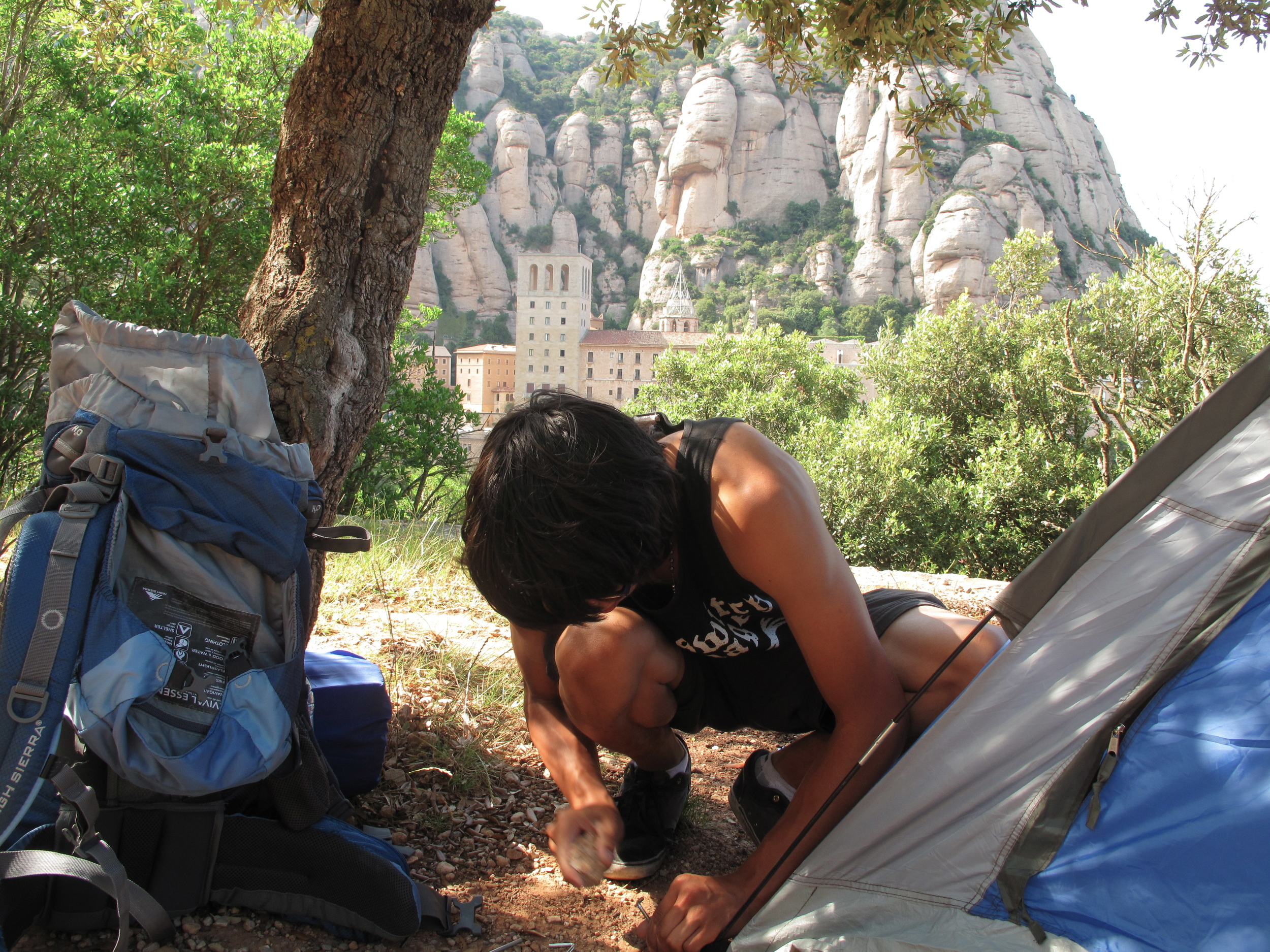 Setting up a tent at the campsite on Montserrat