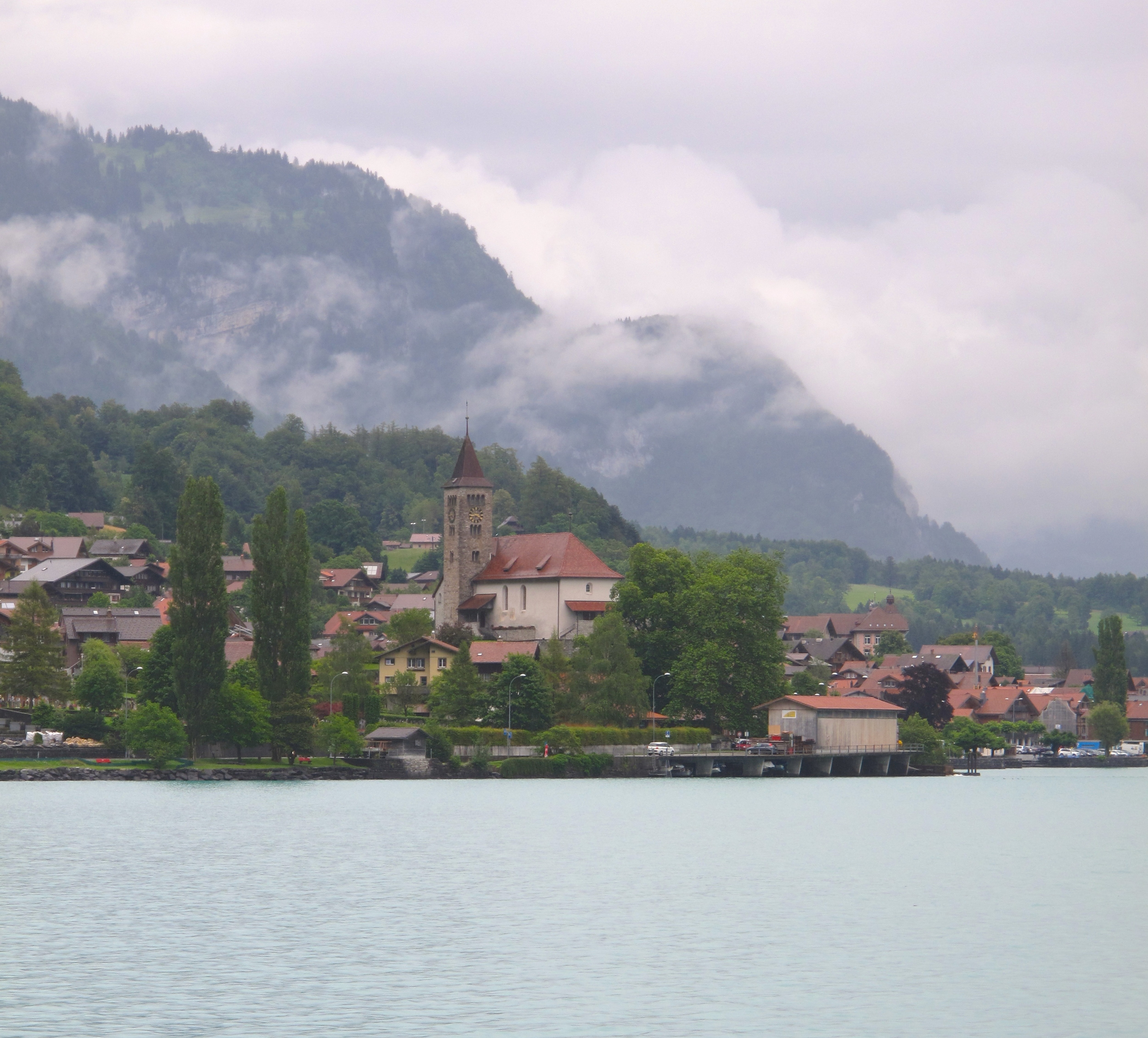 A lake and a small village in Switzerland