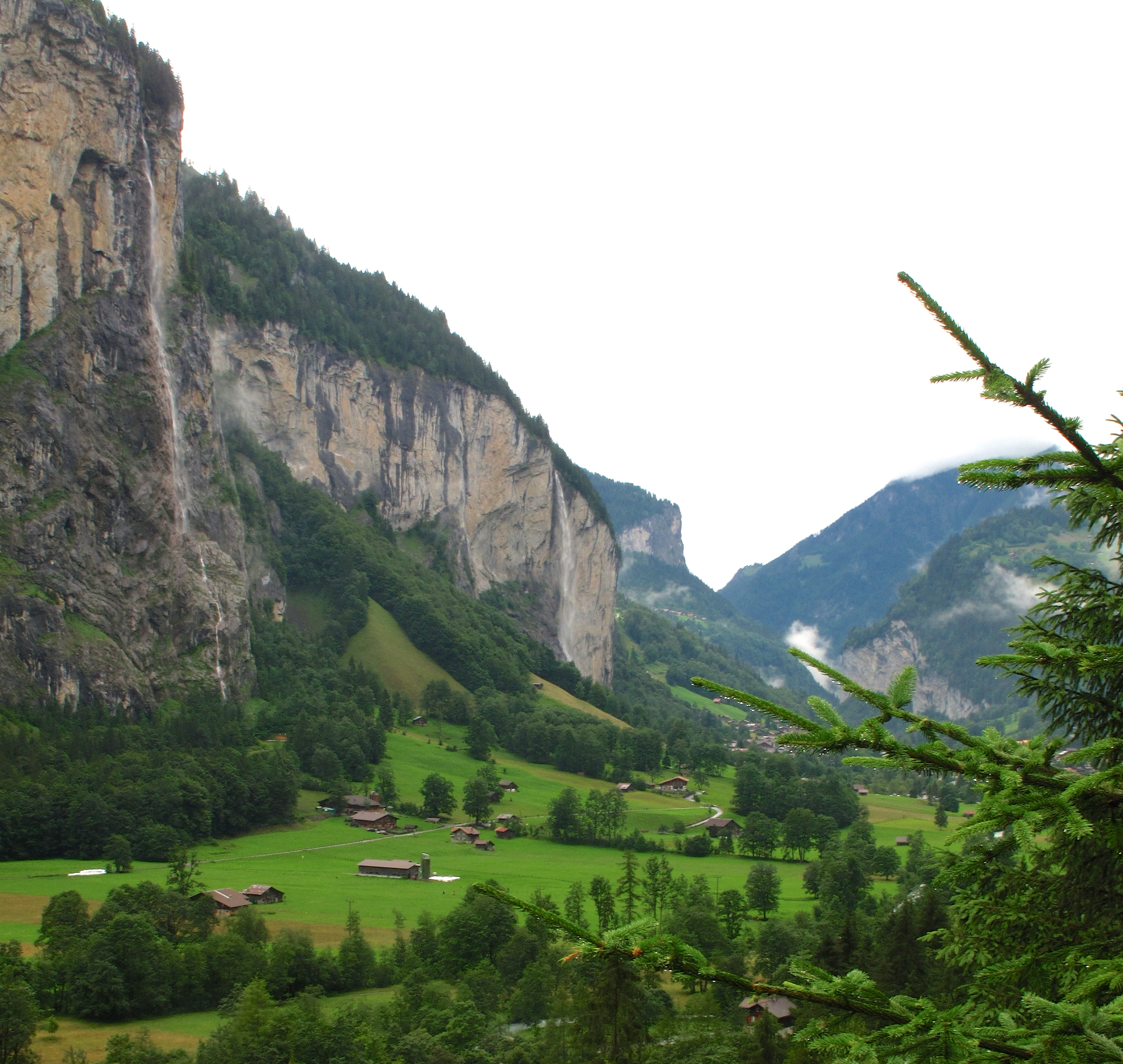 The Lauterbrunnen Valley, Switzerland - a green valley bordered by high mountains