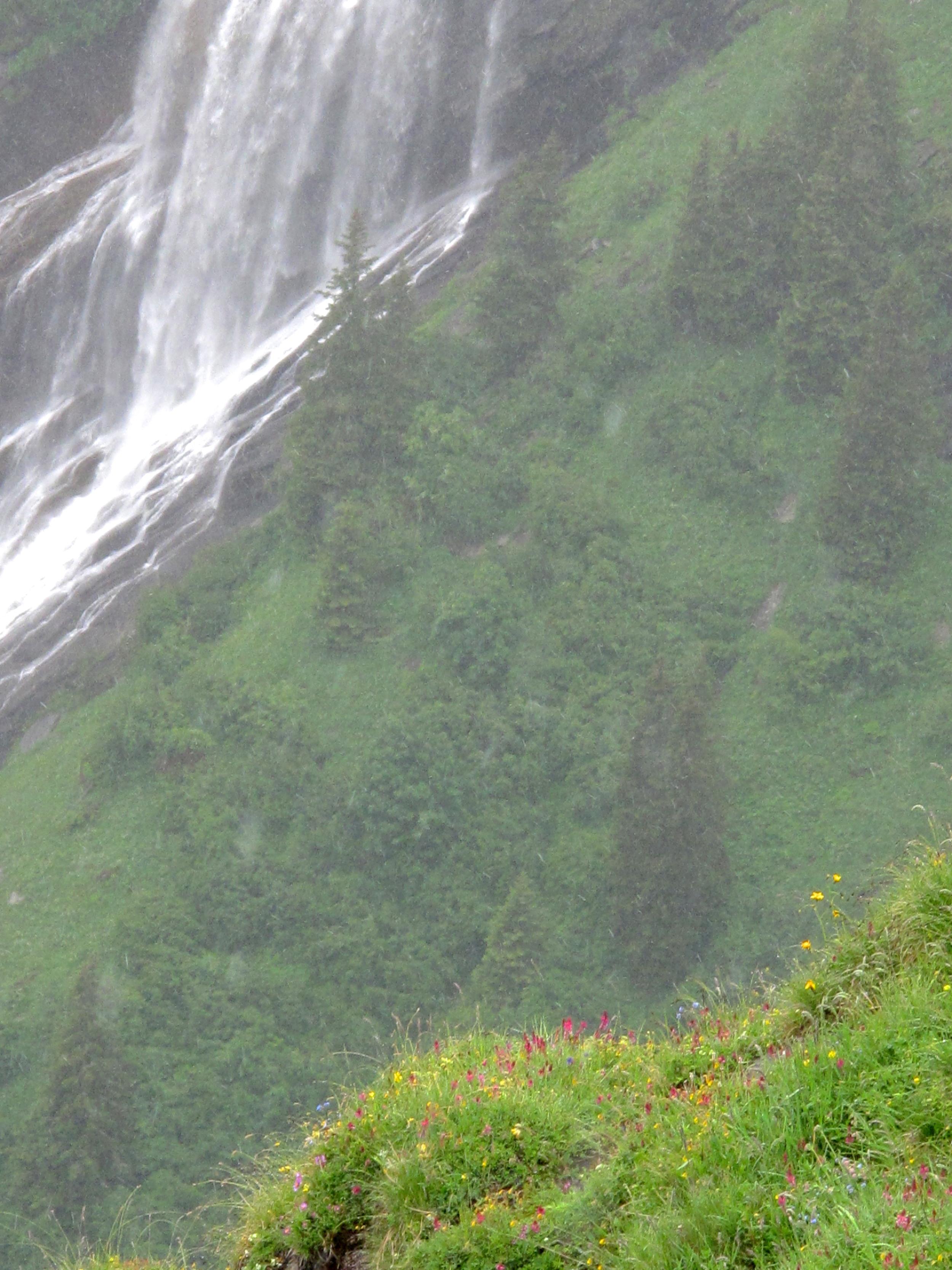 Waterfalls high up in the Swiss Alps near Lauterbrunnen