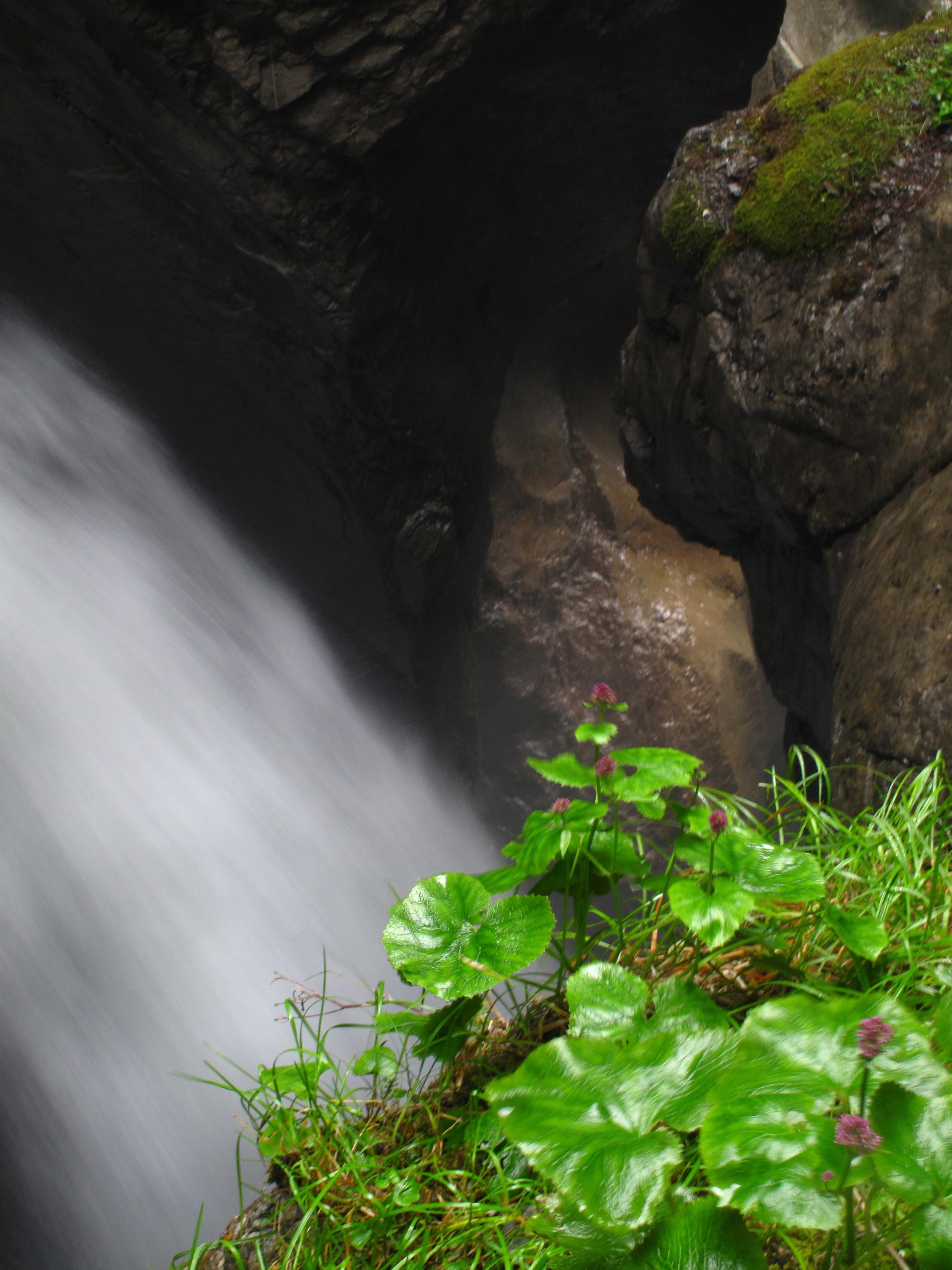 Trümmelbach waterfall in a mountain in Switzerland's lauterbrunnen valley