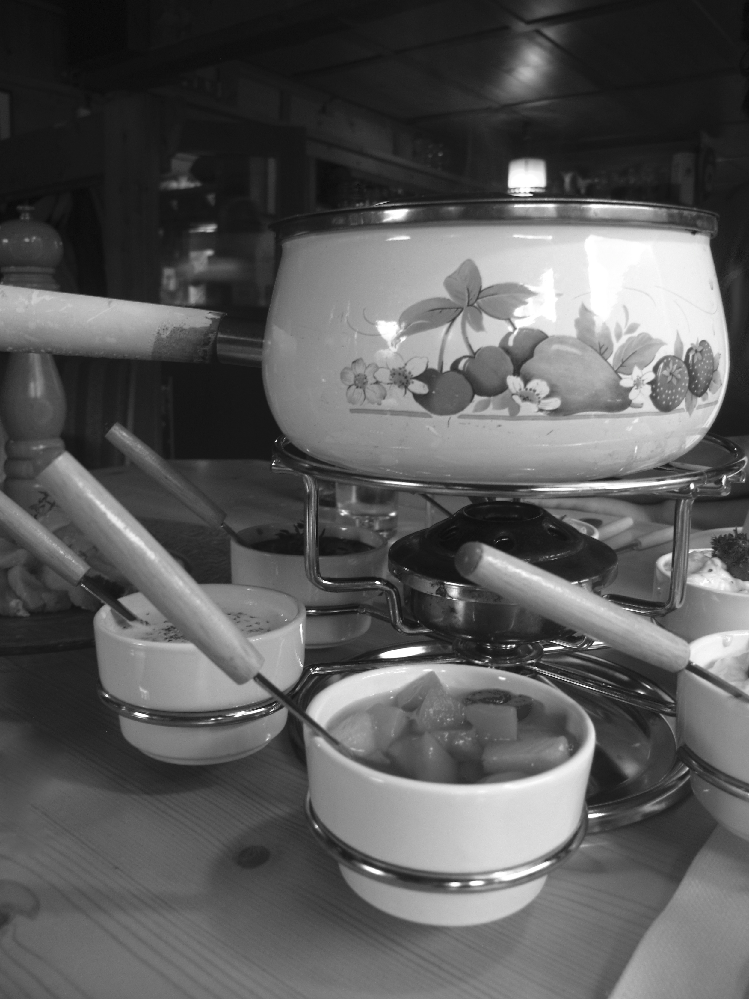 Austrian fondue with boiling broth, meats and dips.