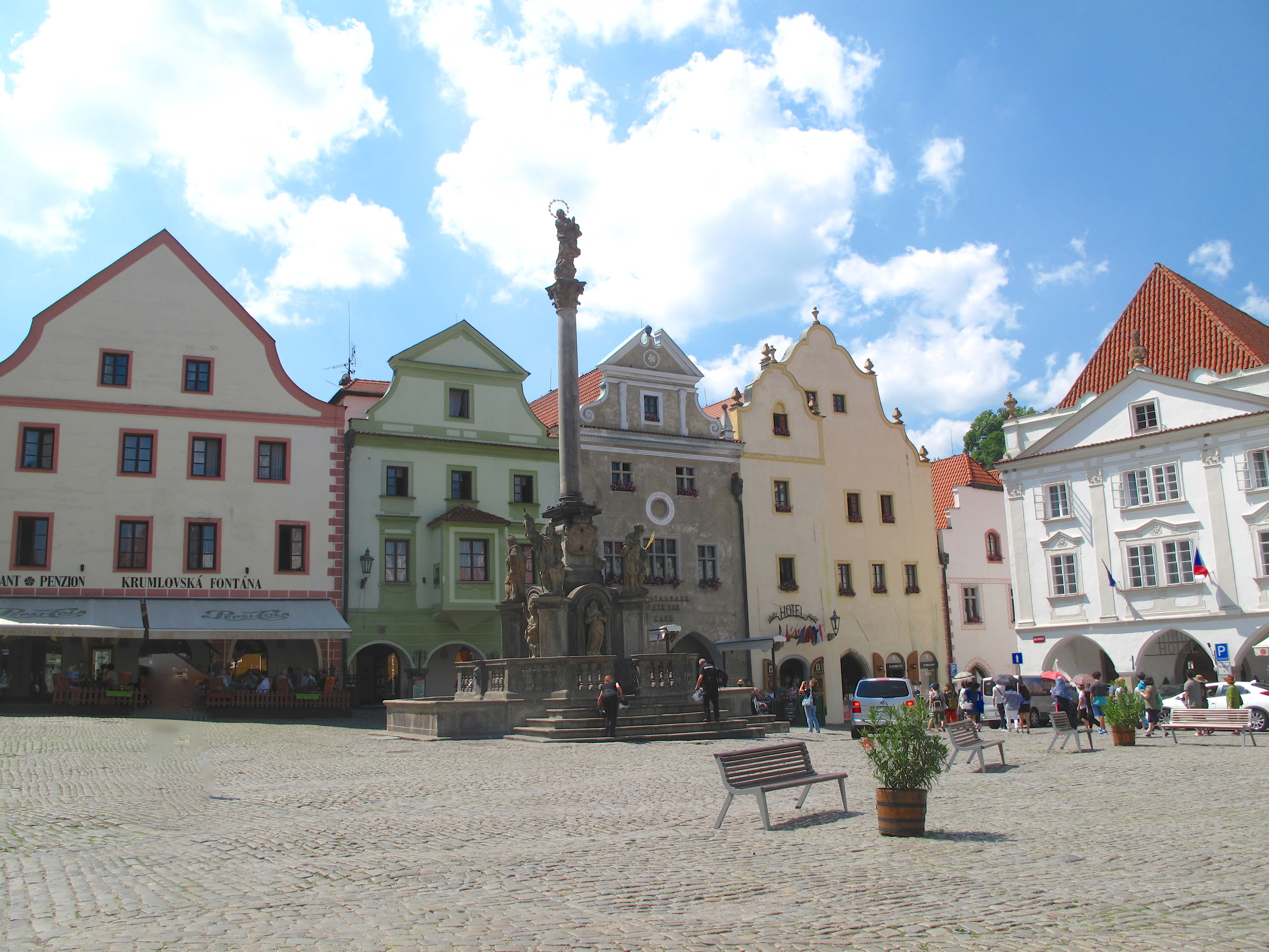 Svornosti Town Square, with colourful old buildings, in Cesky Krumlov, Czech Republic.