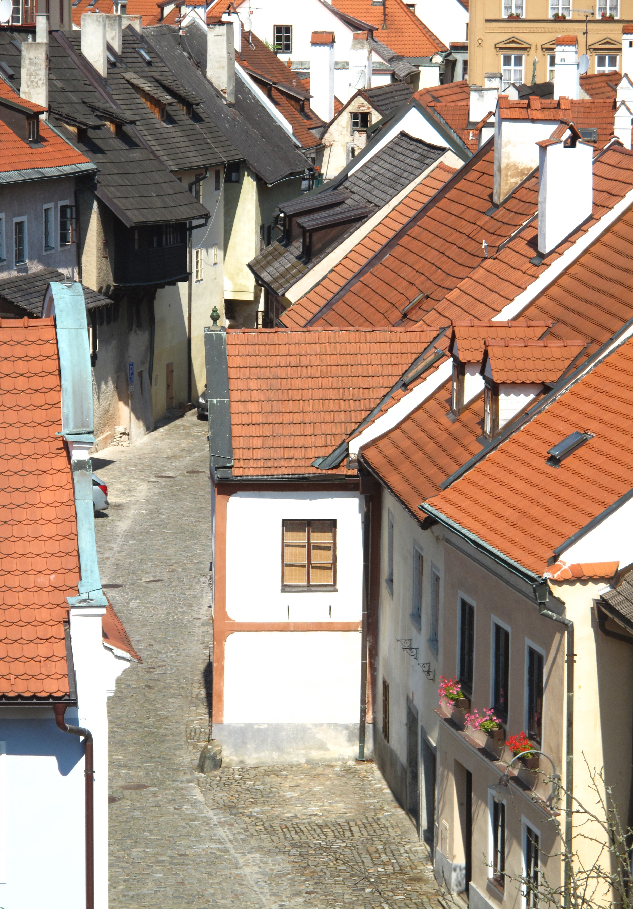 Houses and small lanes in the medieval heart of Cesky Krumlov, Czech Republic.