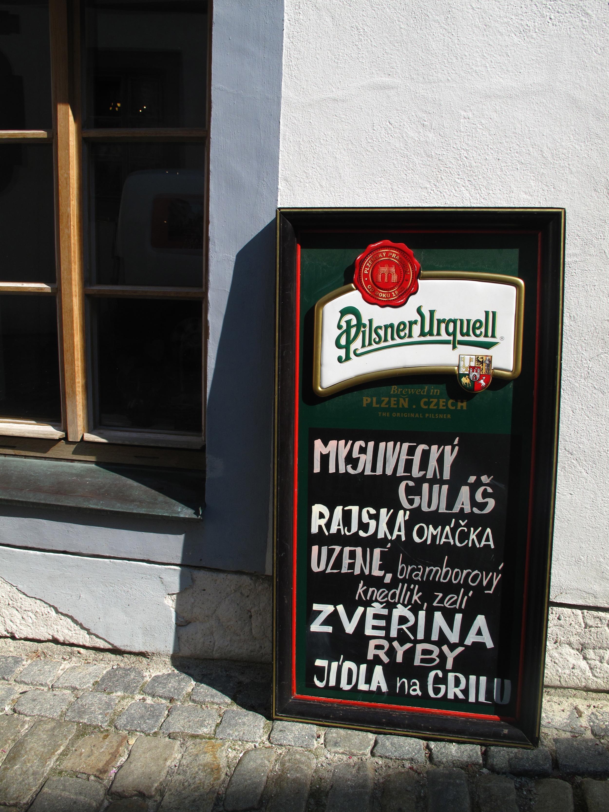 Pilsner Urquell pub sign in Cesky Krumlov, Czech Republic