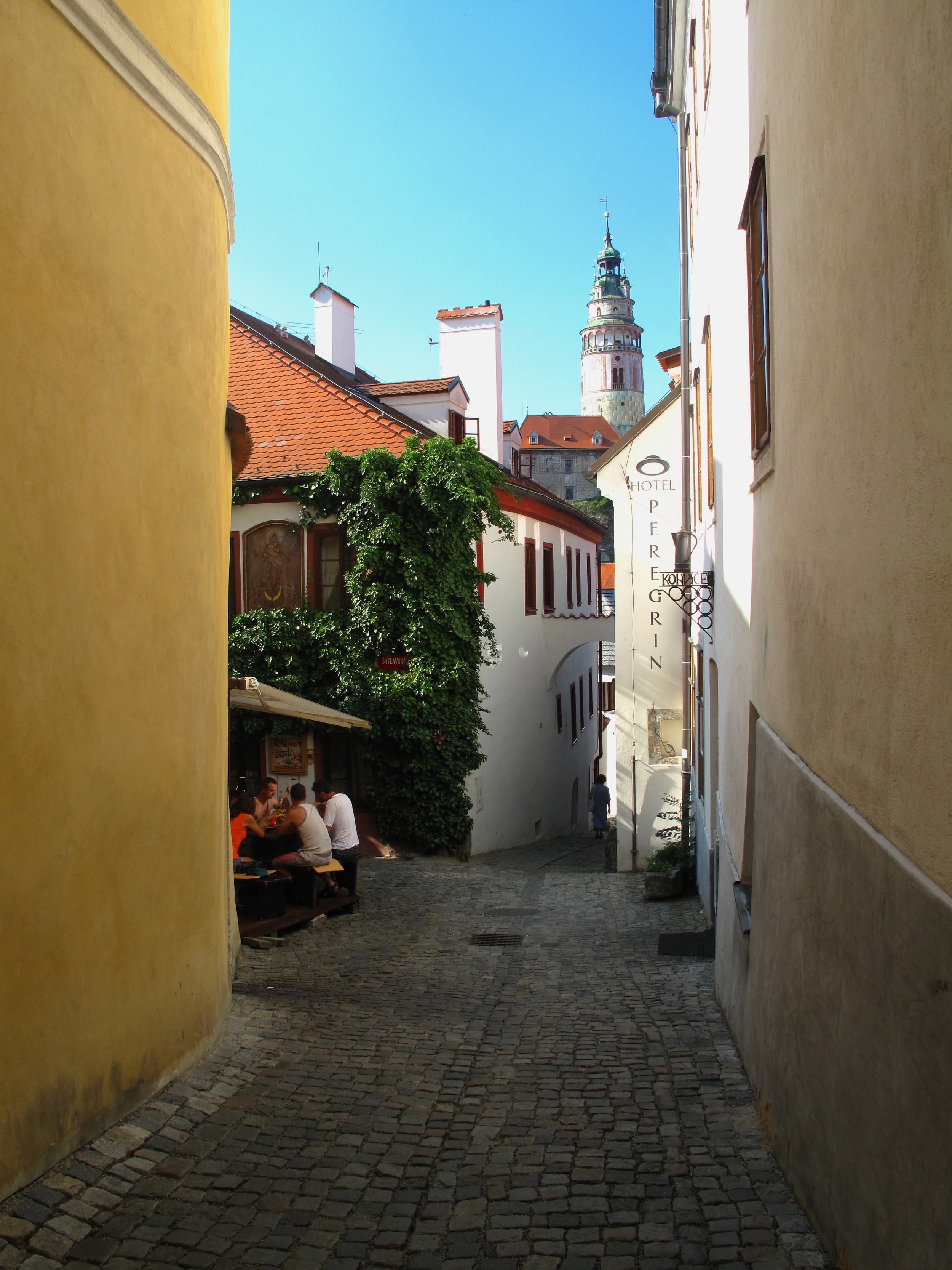 A view of the castle from an old lane, Cesky Krumlov.