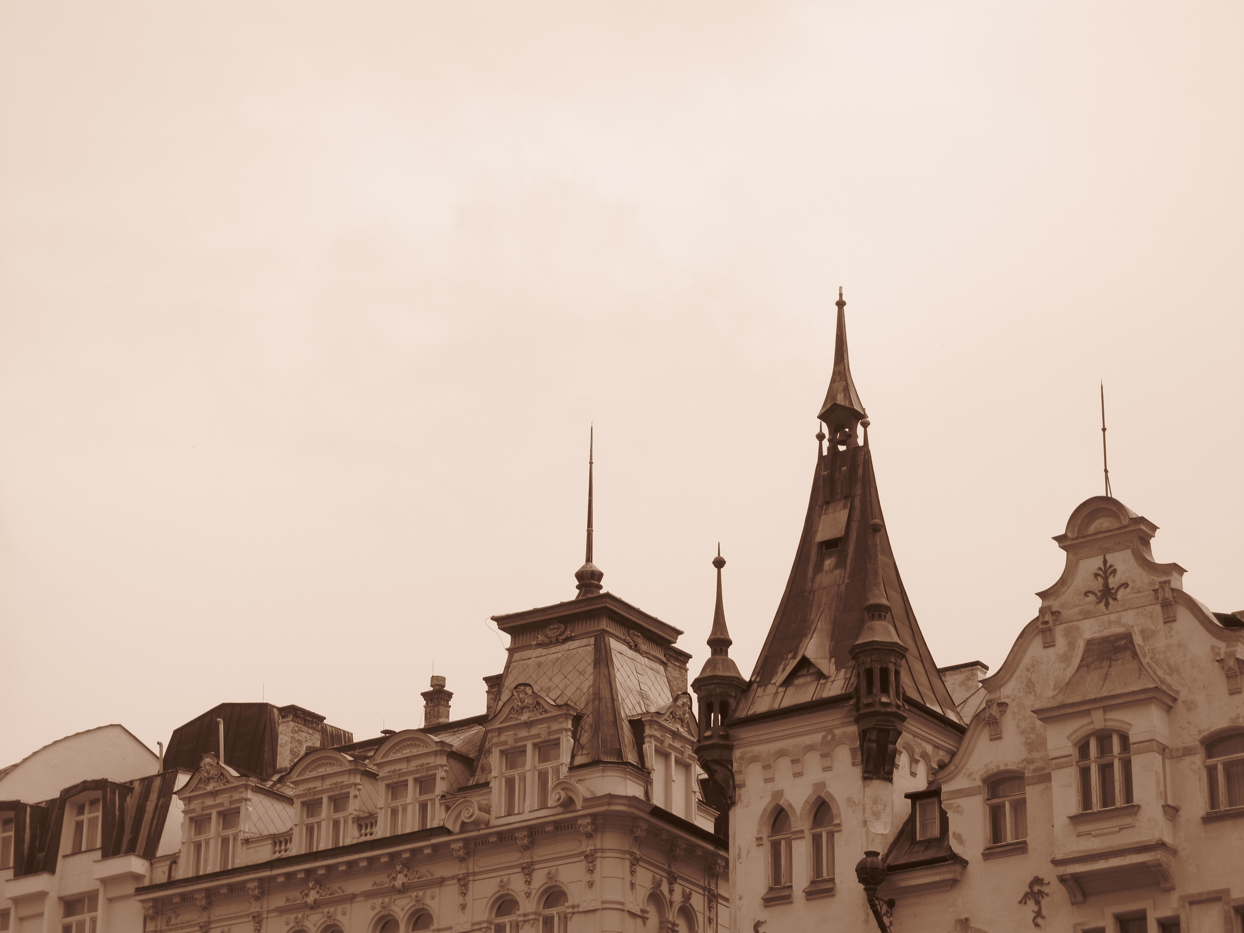 Karlovy Vary architecture - rooftops and spires.
