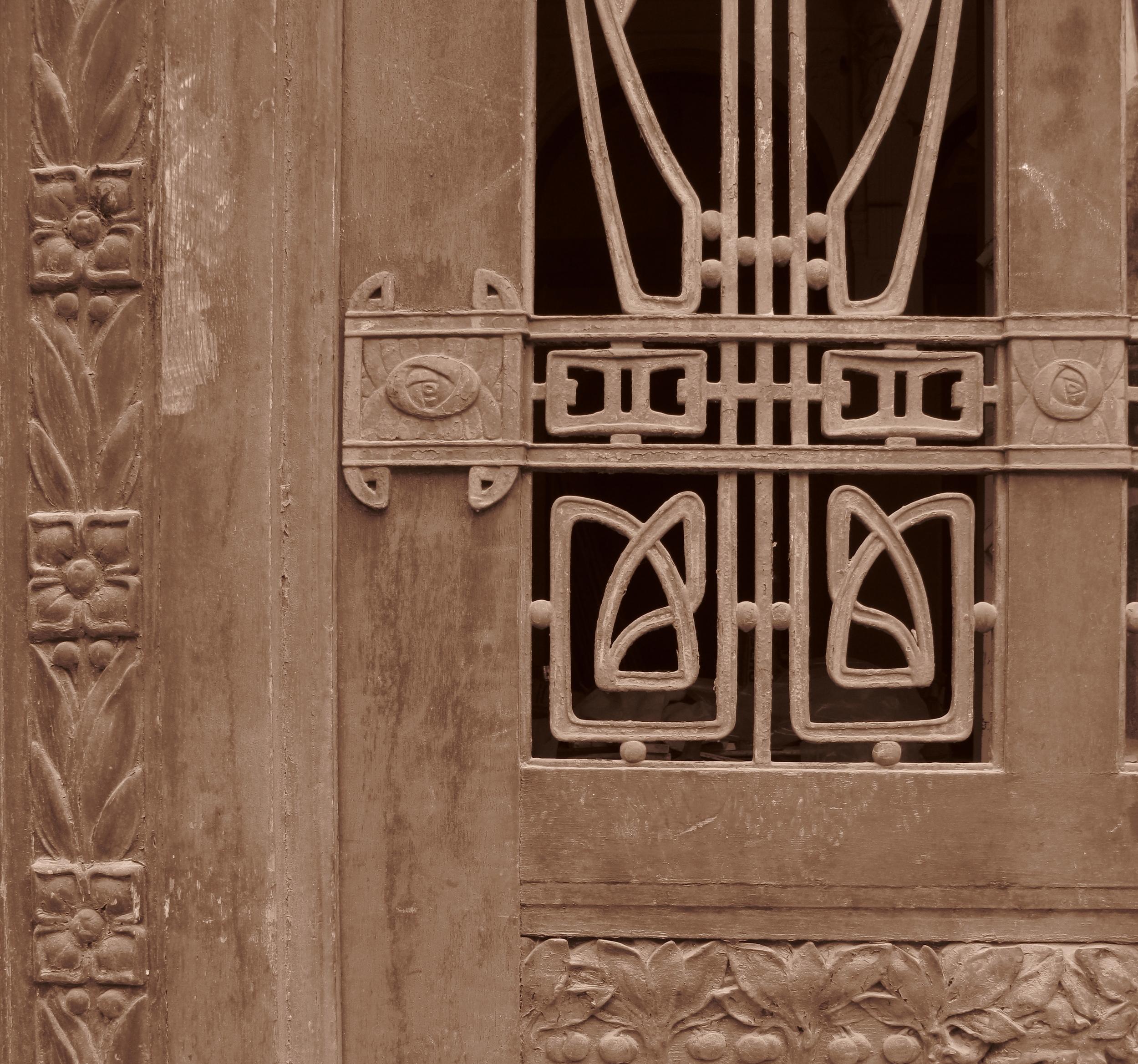 Old art nouveau metal work, bohemian Czech Republic.